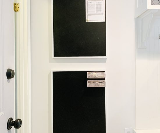 wall with 2 framed magnetic chalkboards
