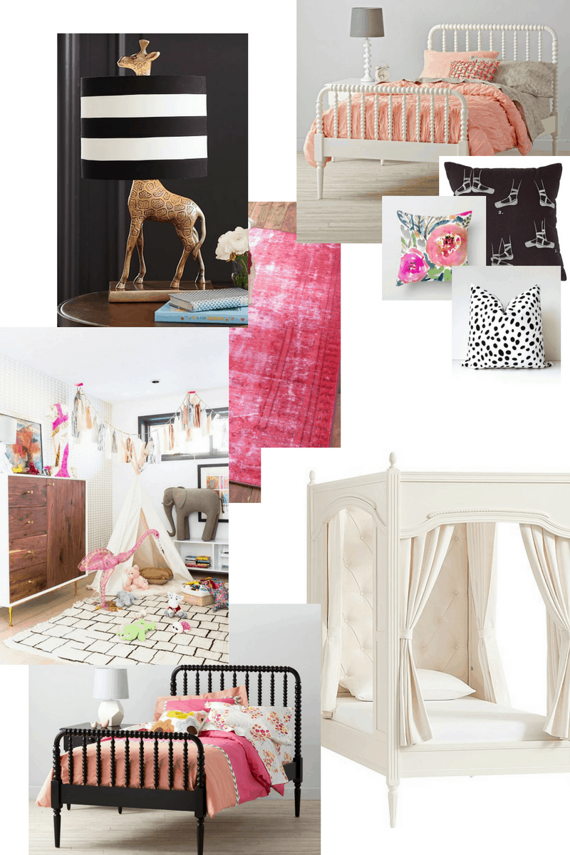 collage of items for a little girls room