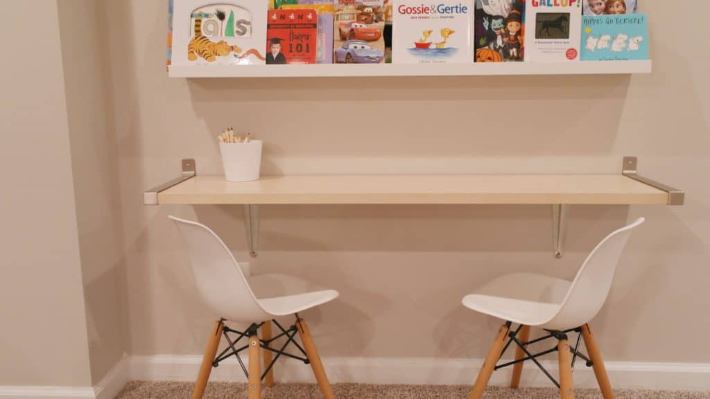 Book wall and desk | Basement Playroom