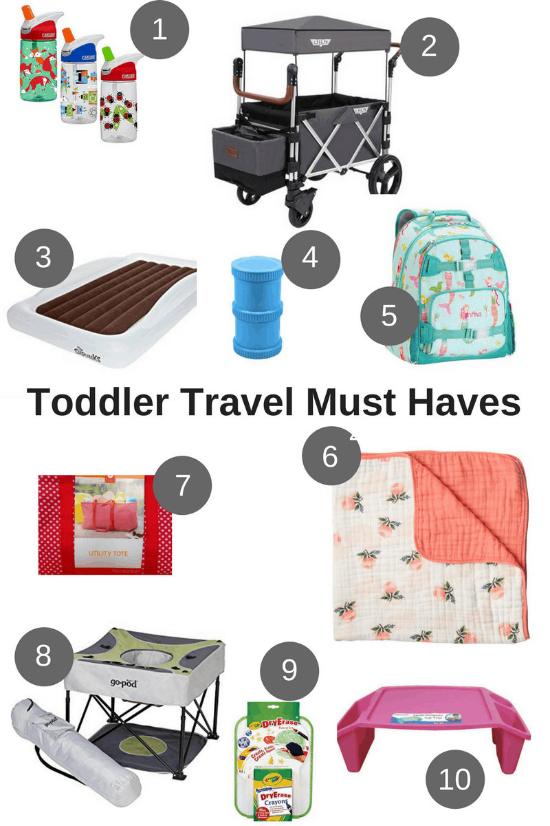 collage of toddler travel items