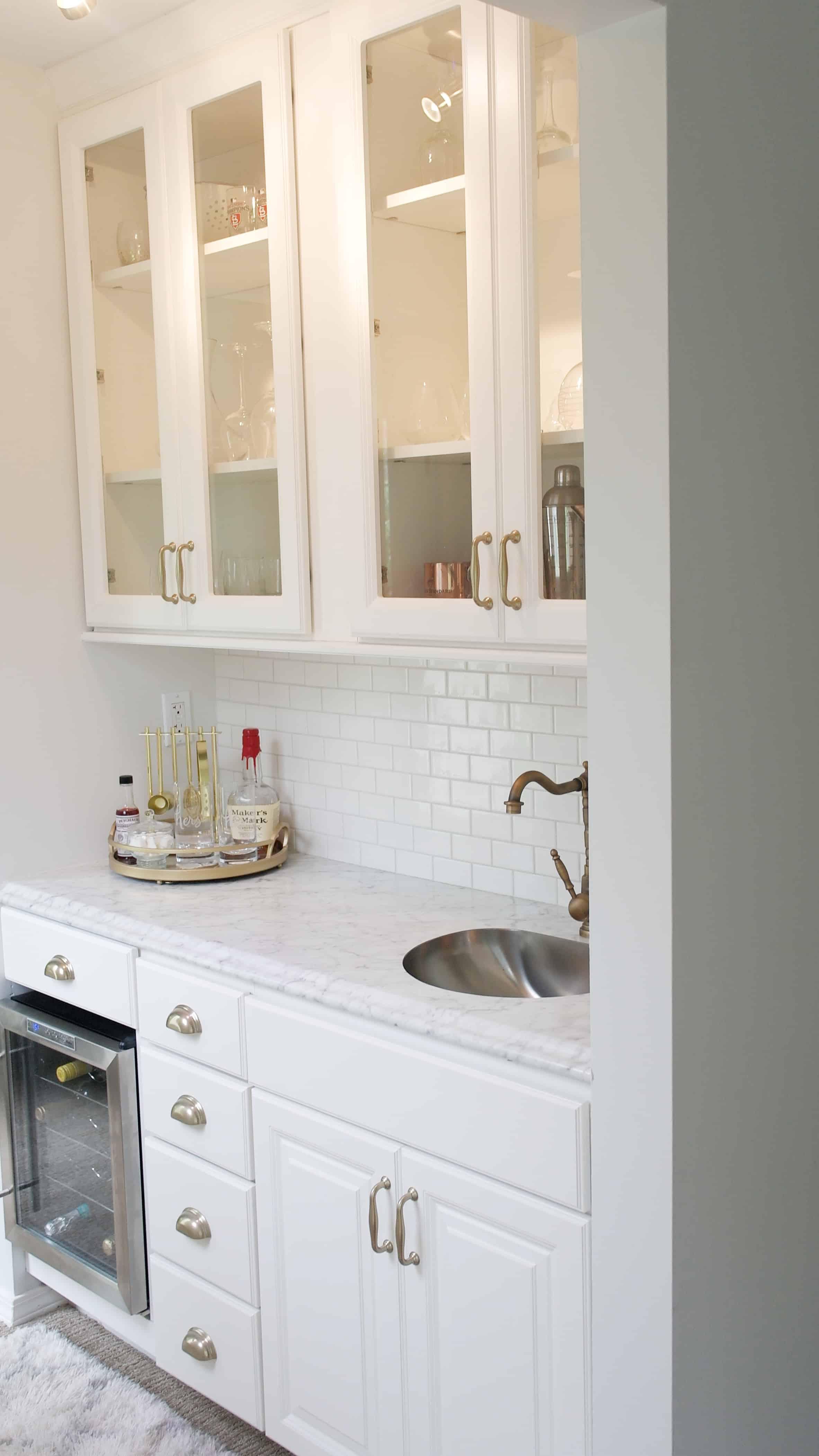 white cabinet bar