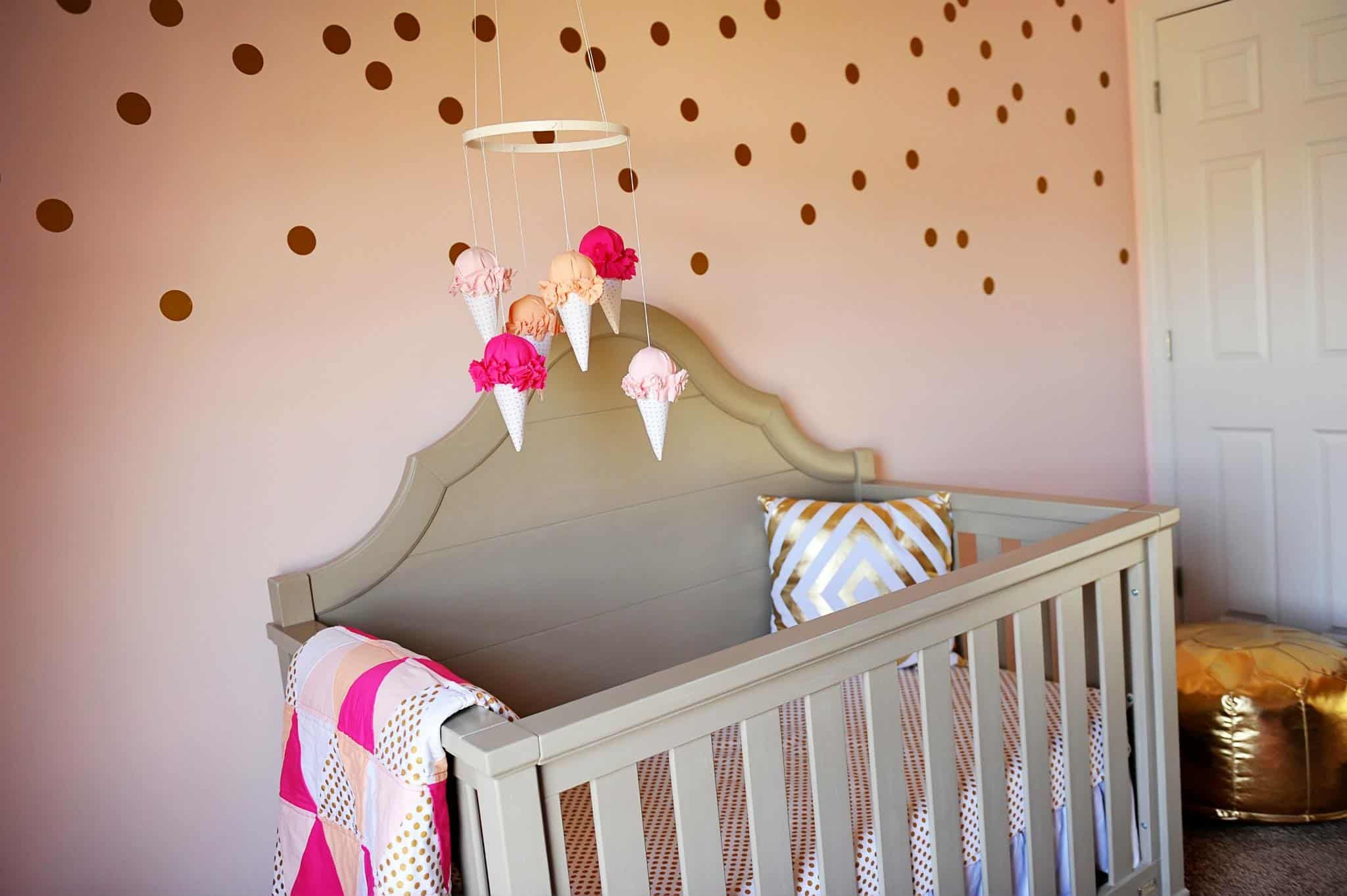 pink dot wall in nursery