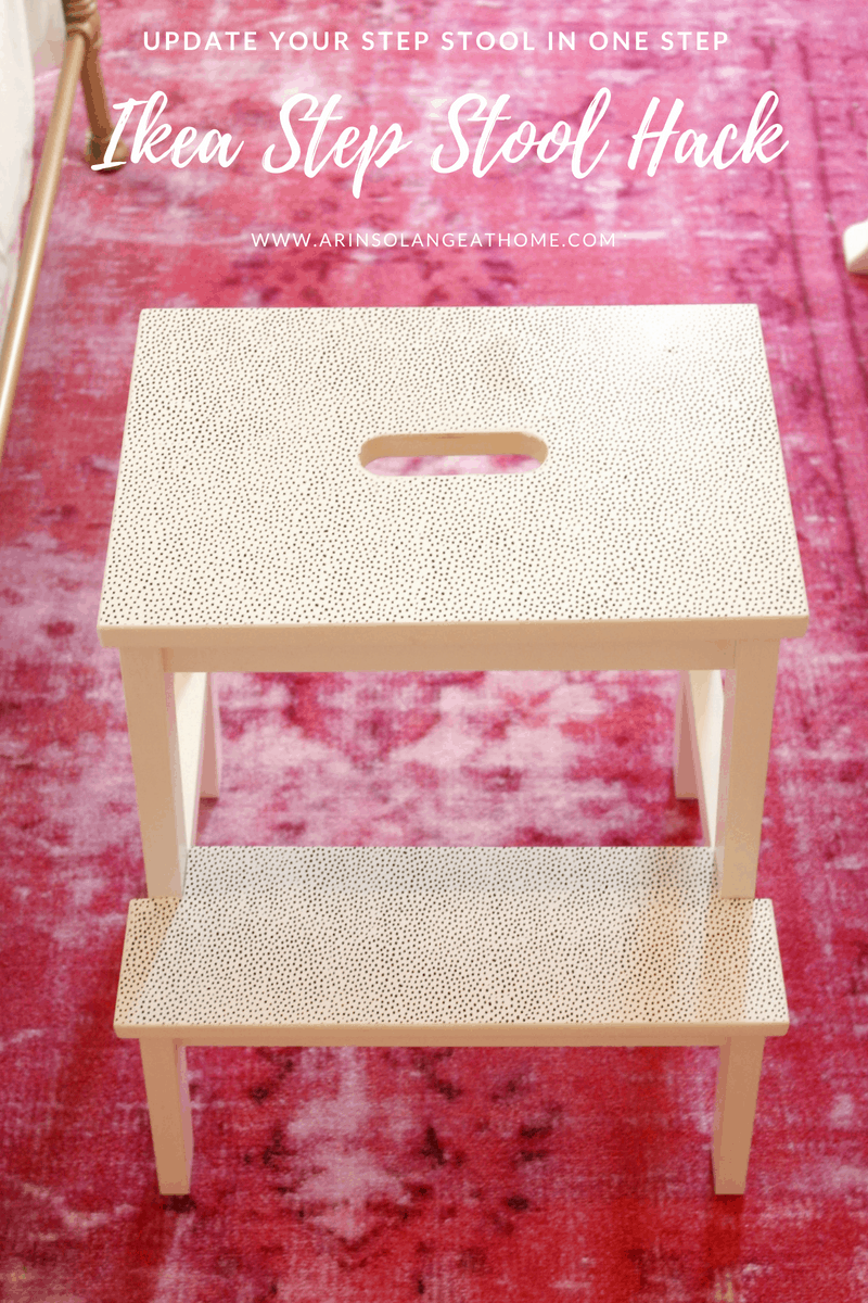 ikea hack step stool on pink rug