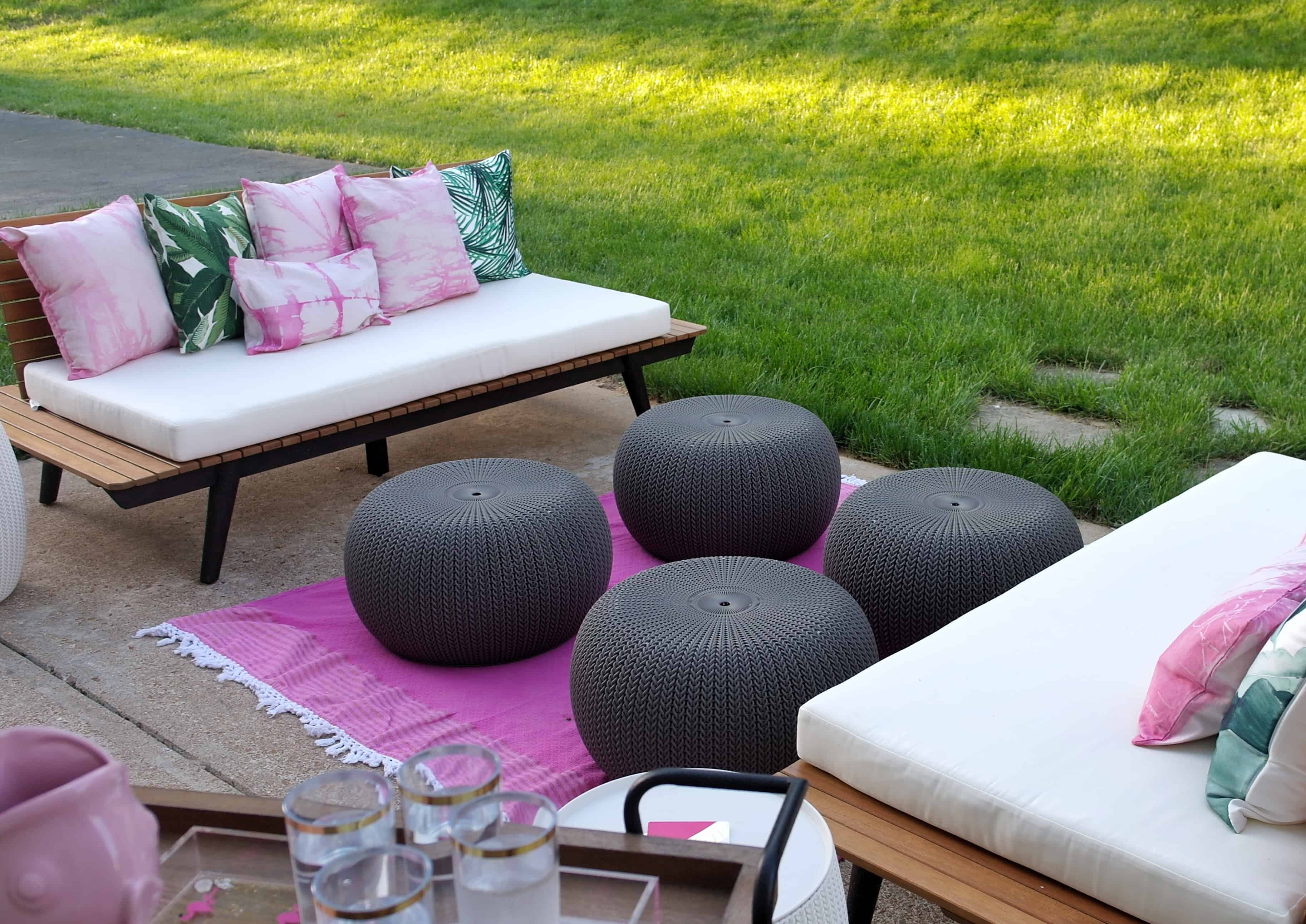 pink outdoor patio space