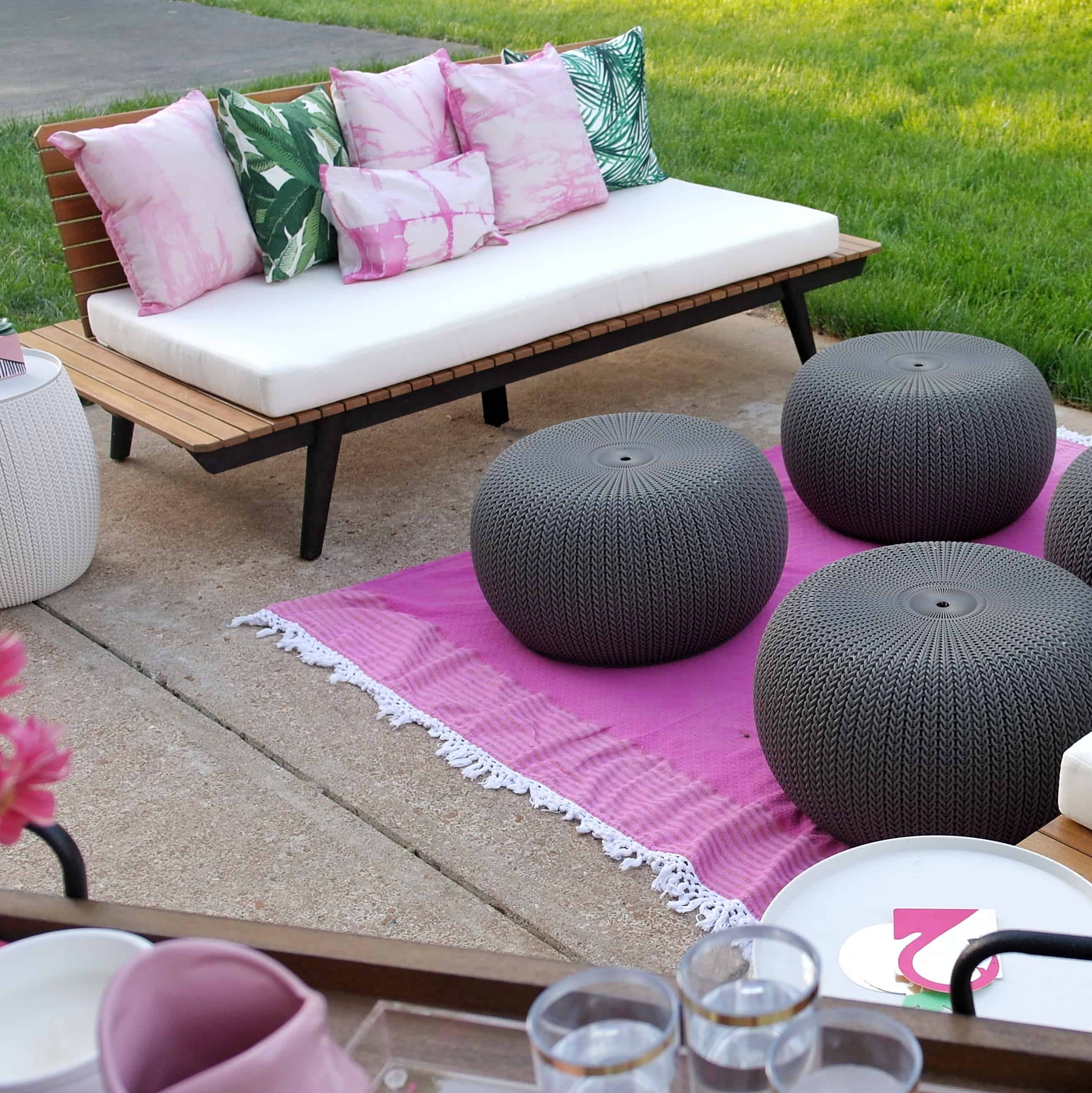 pink patio and outdoor seating