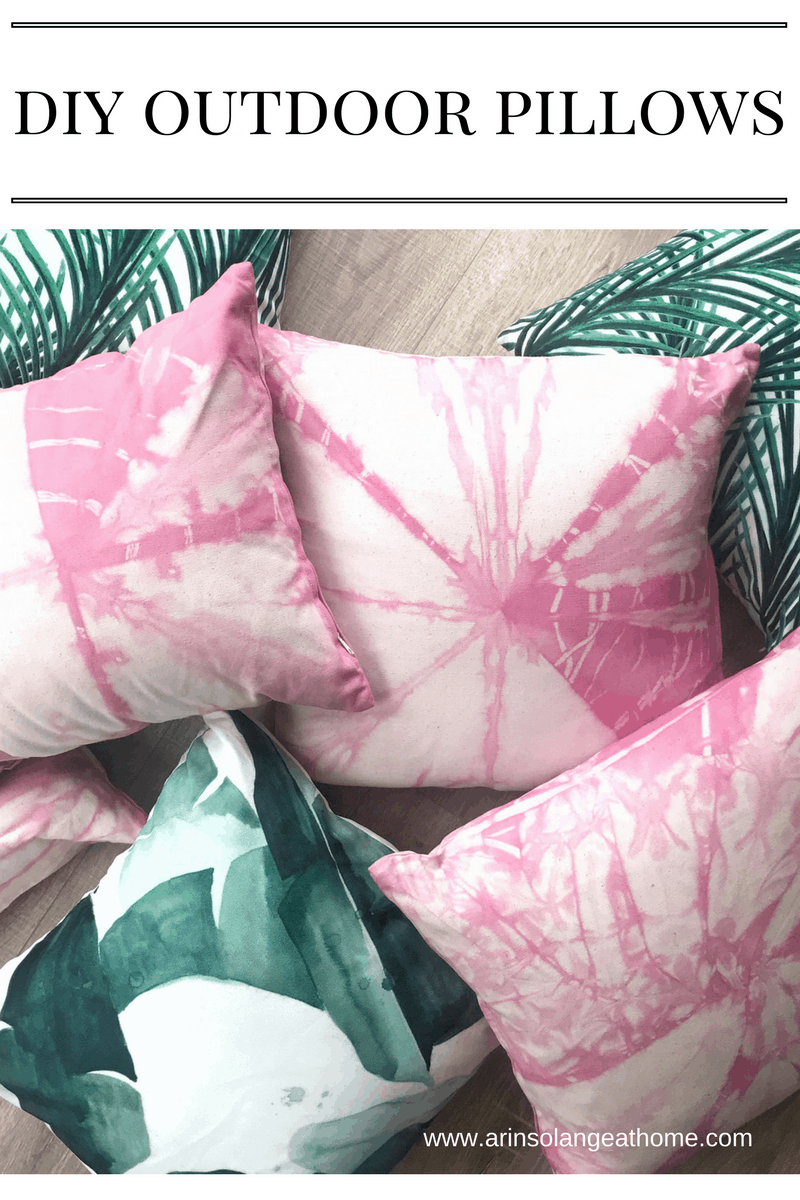 pink tie dye and green outdoor pillows
