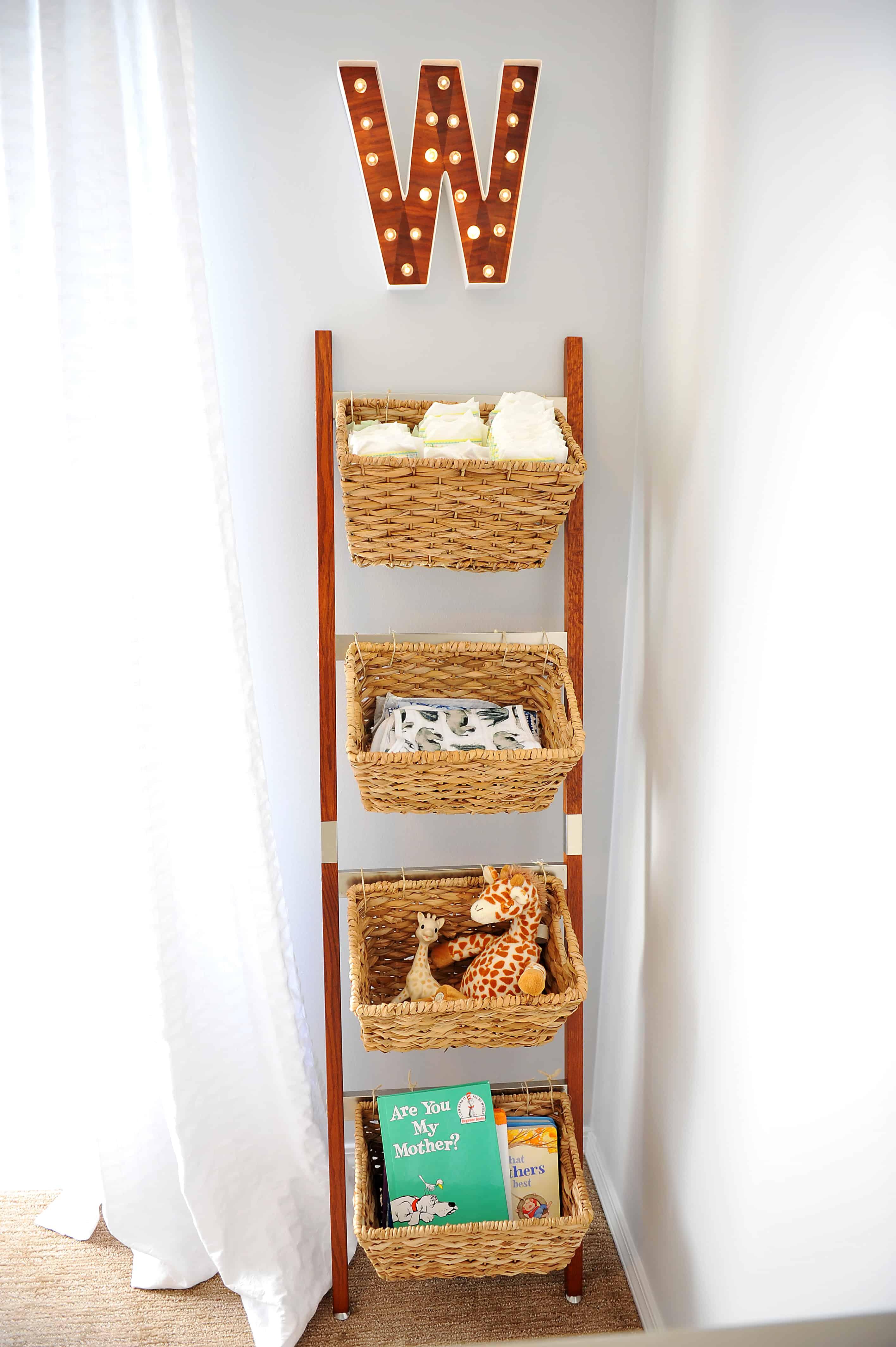 wicker storage ladder | Modern Boy Nursery Ideas