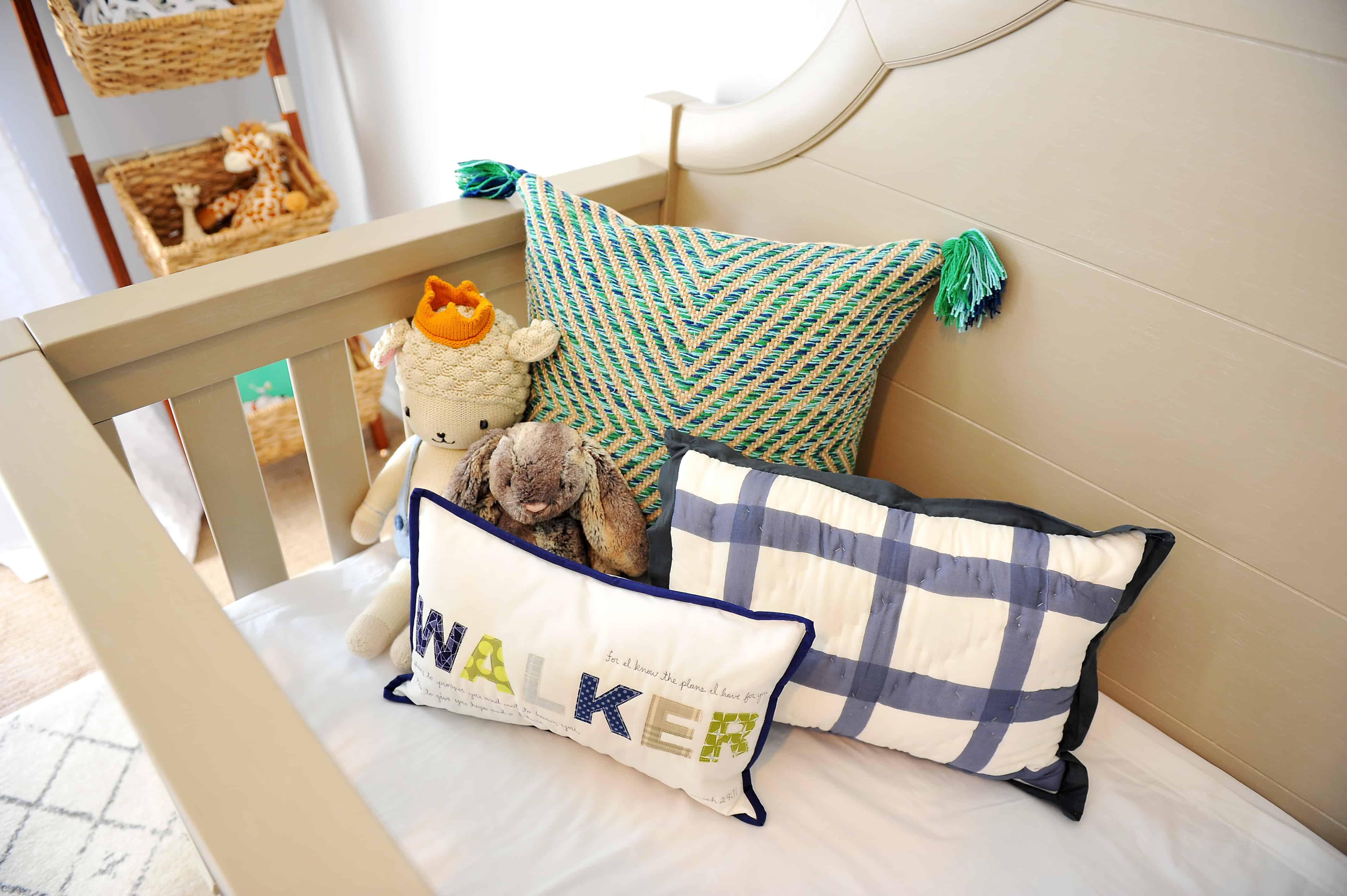 crib with with throw pillows | Modern Boy Nursery Picks
