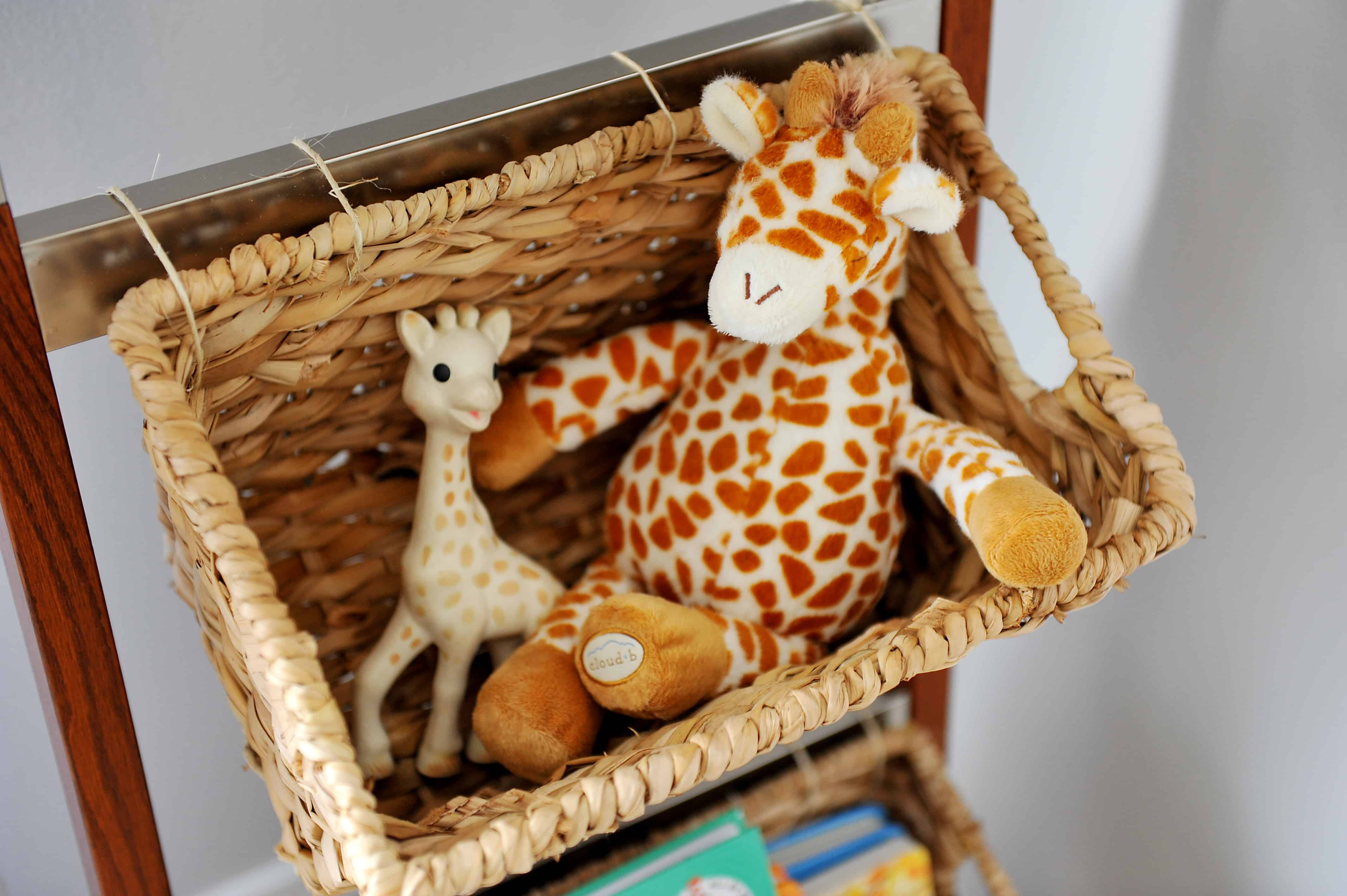 basket with Sophie the giraffe | Modern Boy Nursery Picks