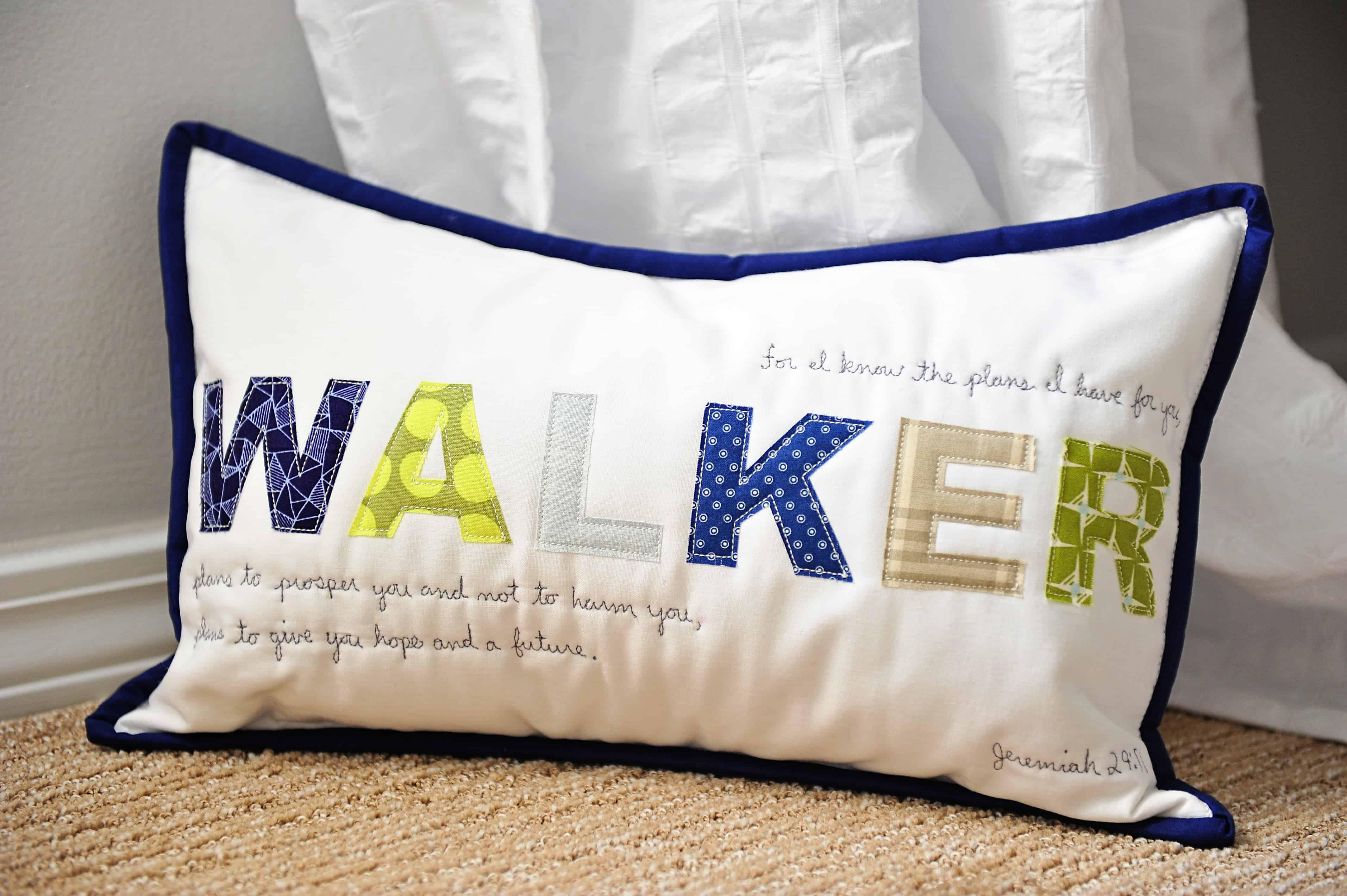 Walker Name pillow | Modern Boy Nursery Decor