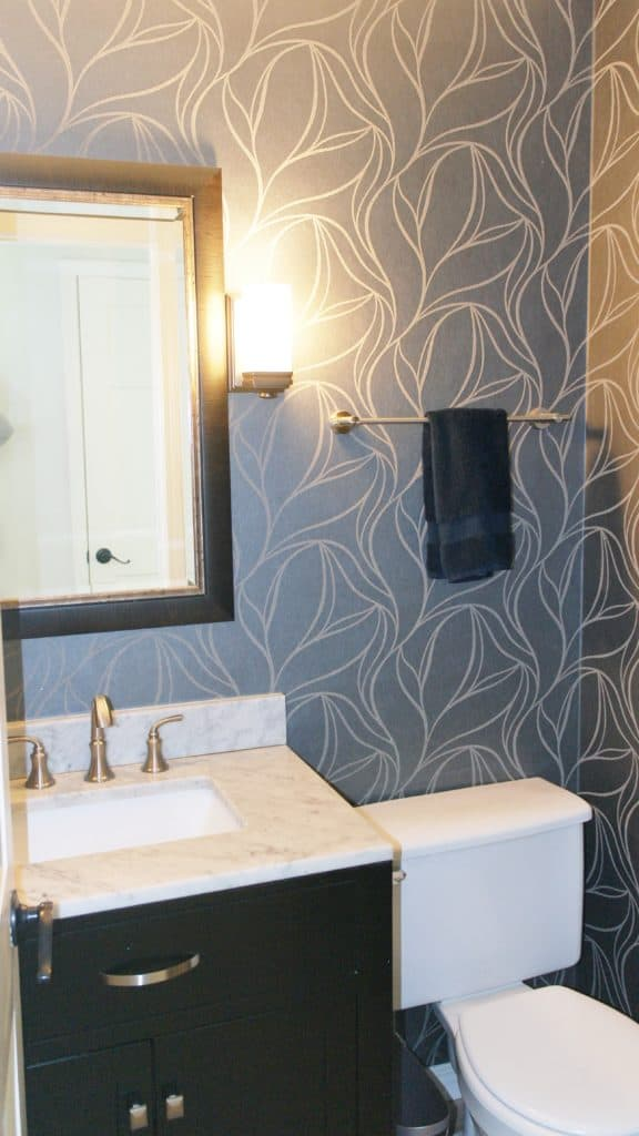 Guest Bathroom with wallpaper   House Tour