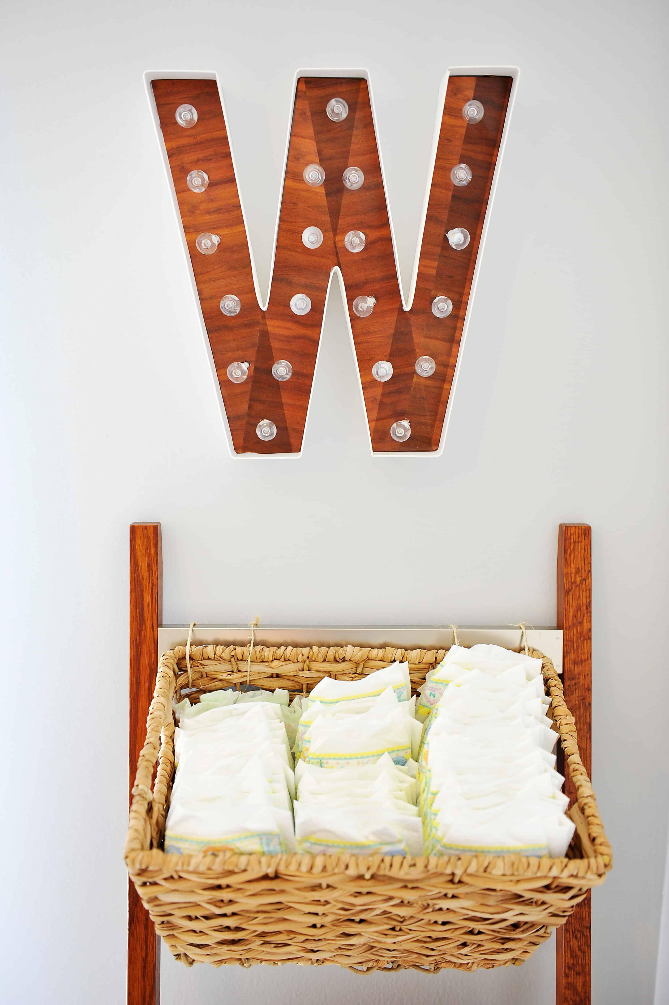 W marque letter and diaper basket | DIY Storage Ladder