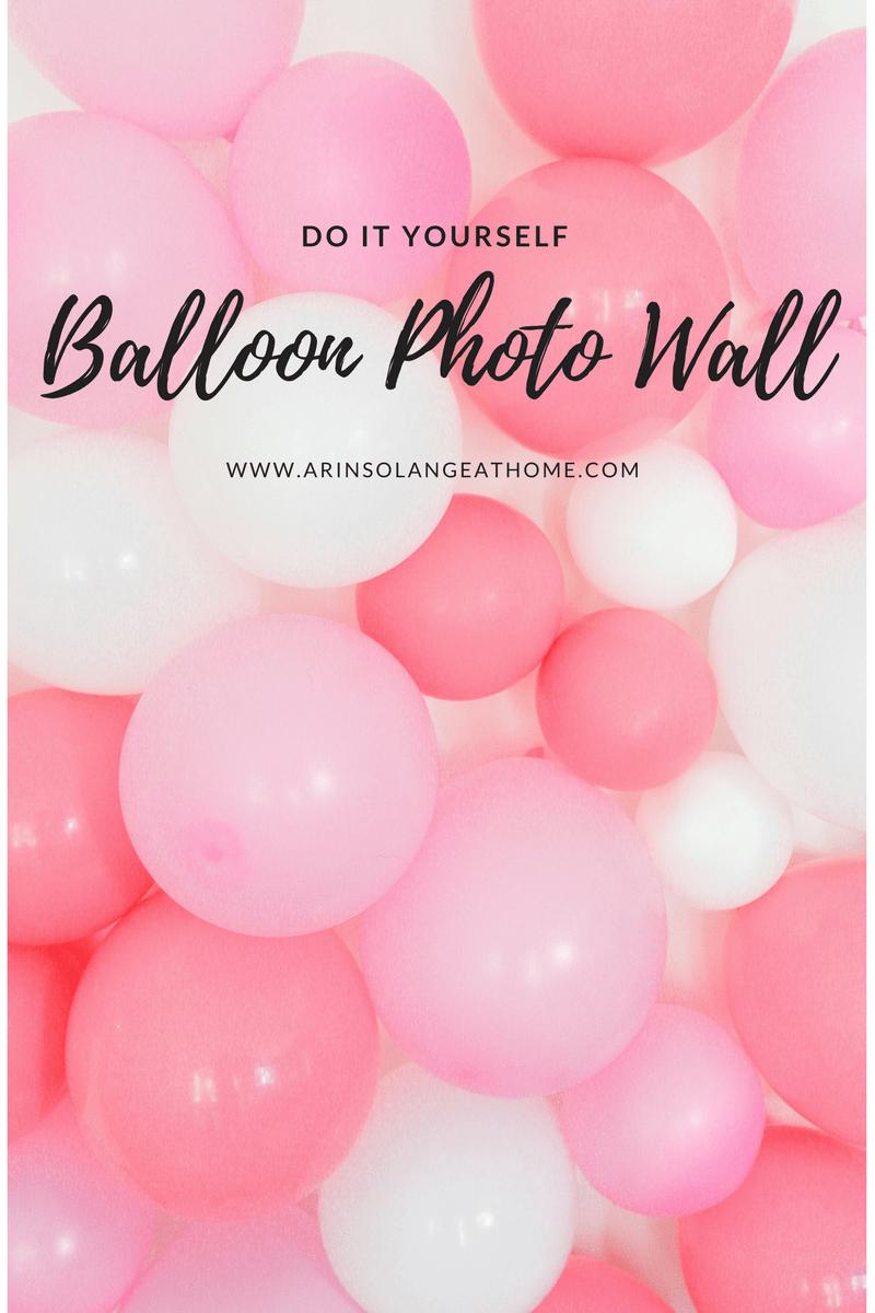 wall of pink and white balloons - DIY Balloon Photo Wall