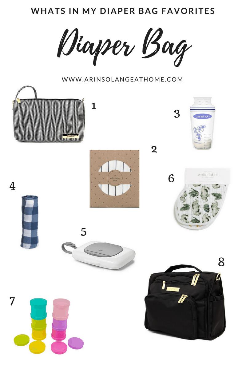 collage of diaper bag favorites