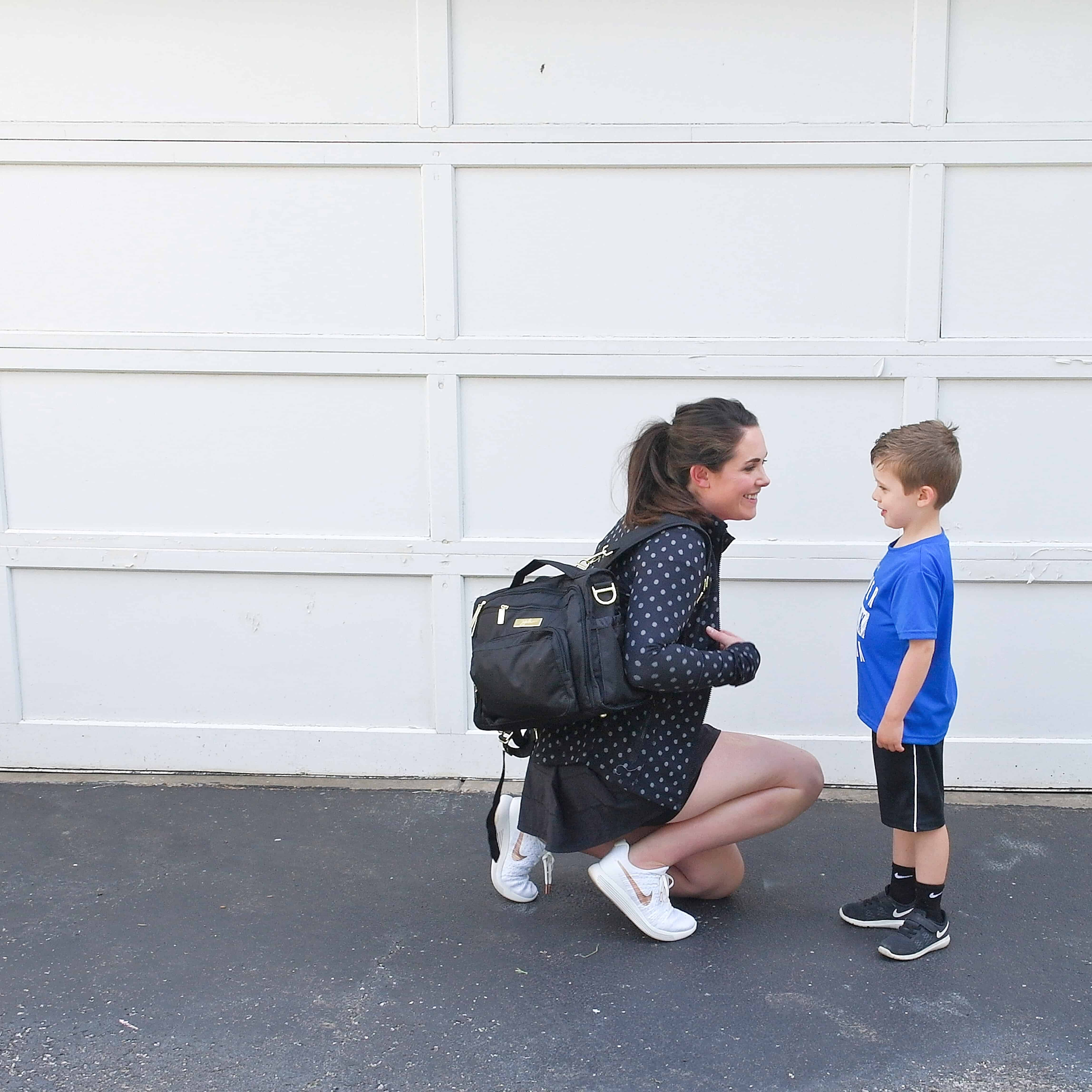 mom and son with jujube diaper bag