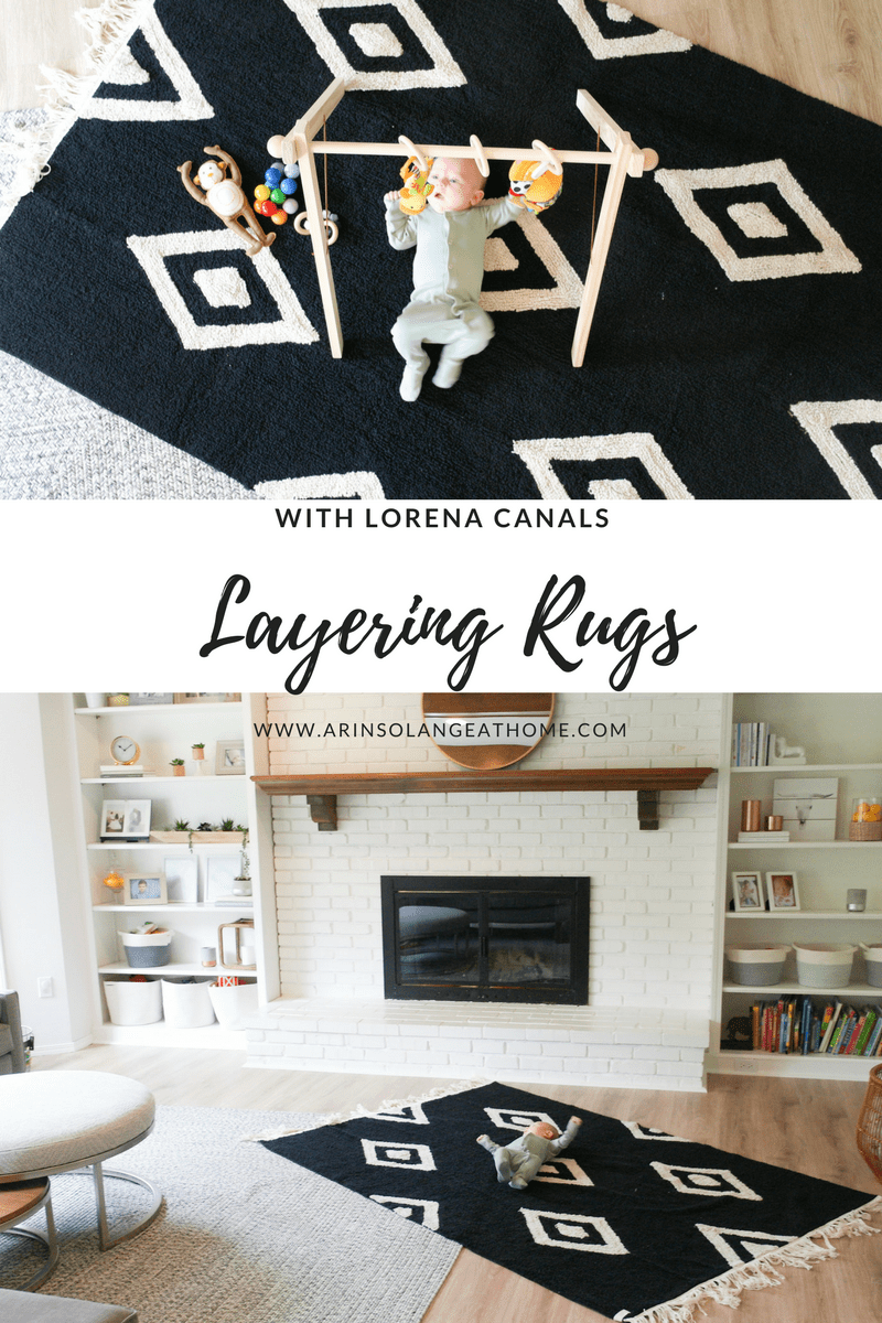 baby on Lorena canals rug