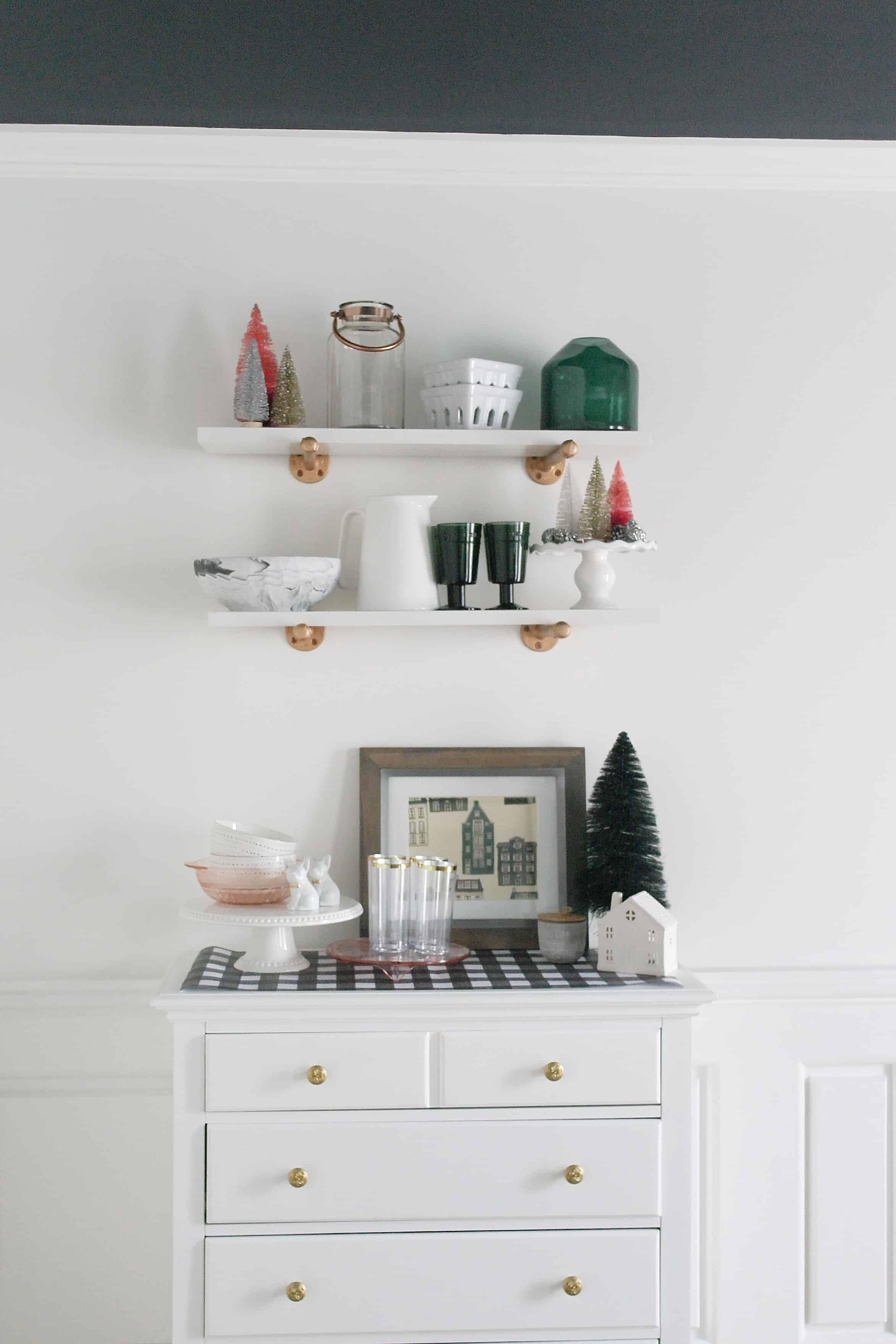 Christmas white shelves