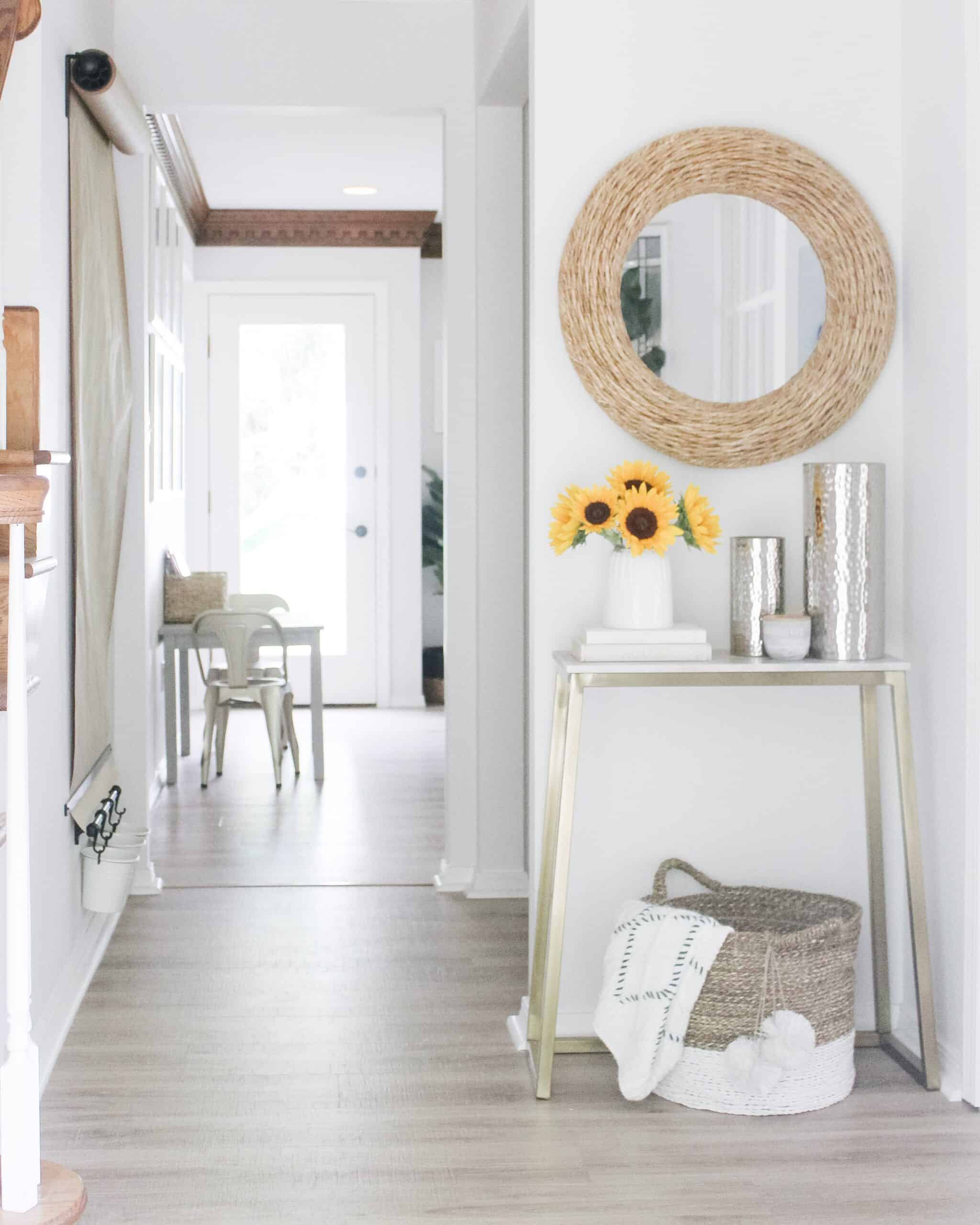 DIY wall mounted easel in a small entry way