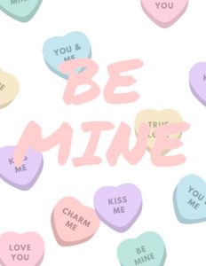 Be mine printable over conversation hearts