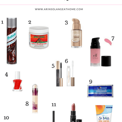collage of budget friendly drug store beauty products