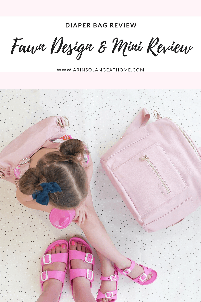 little girl with pink fawn design bag and blush fawn design diaper bag | Fawn Design Diaper Bag