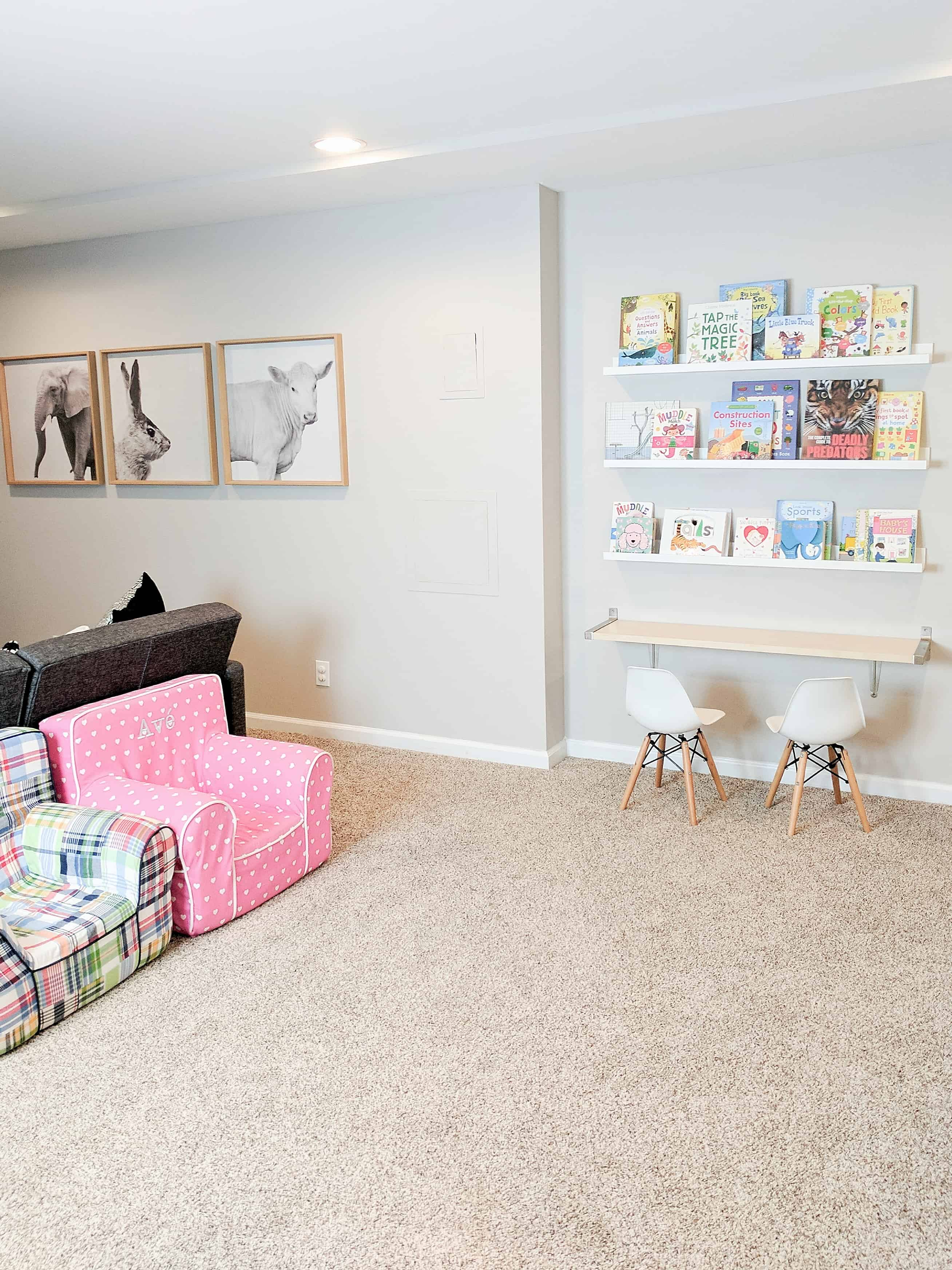 basement playroom with animal photos and book wall