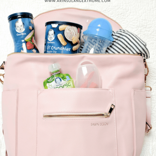 blush fawn design bag packed with Gerber snacks