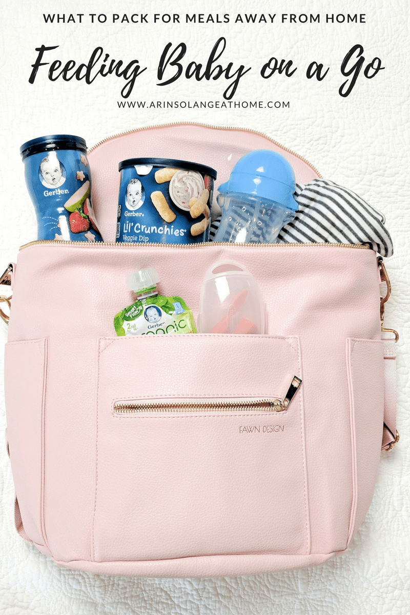 blush fawn design bag packed with Gerber snacks | Feeding Babies On The Go