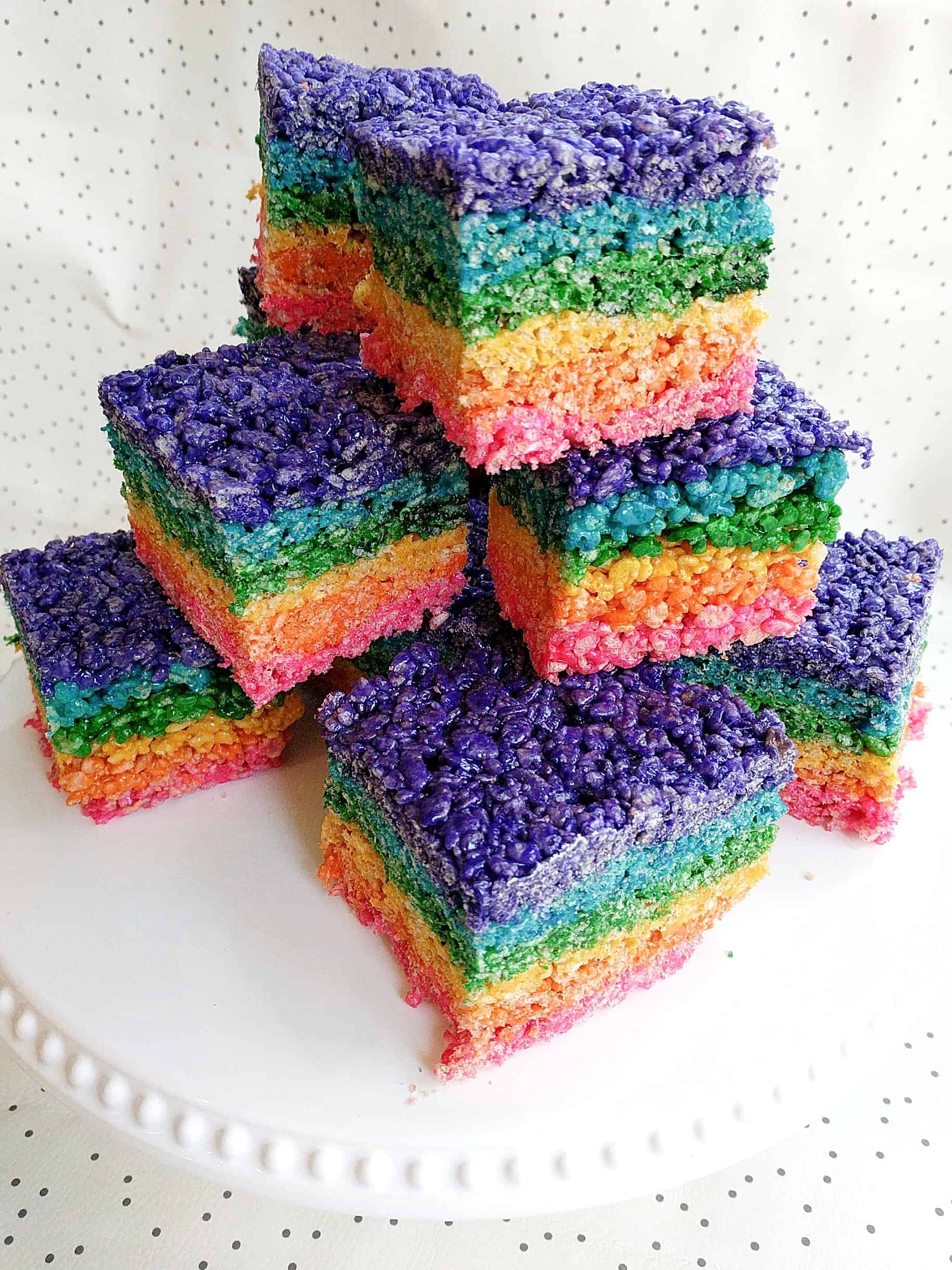 rainbow colored rice Krispy treats