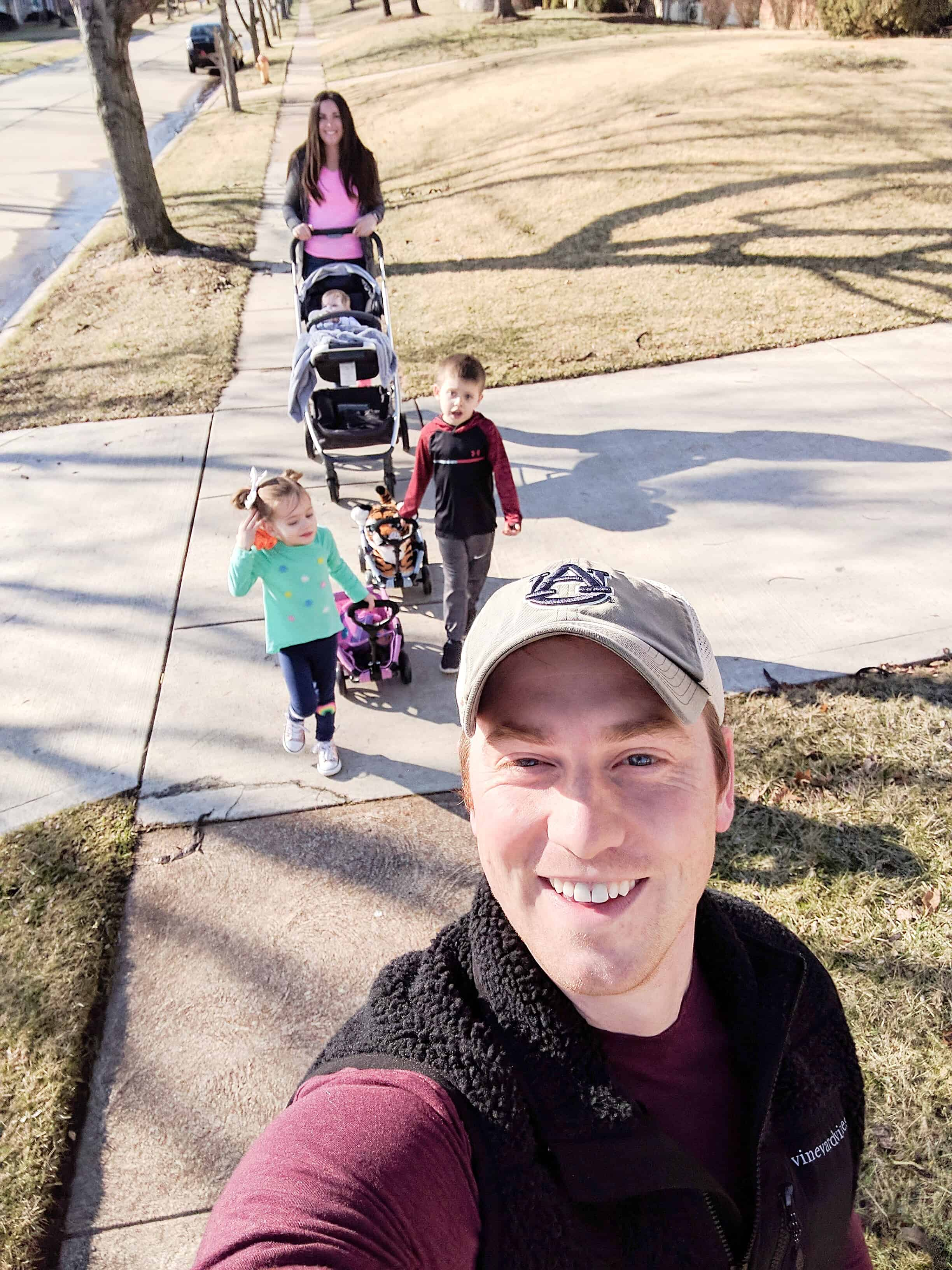 Family selfie on a walk | Buying a Stroller