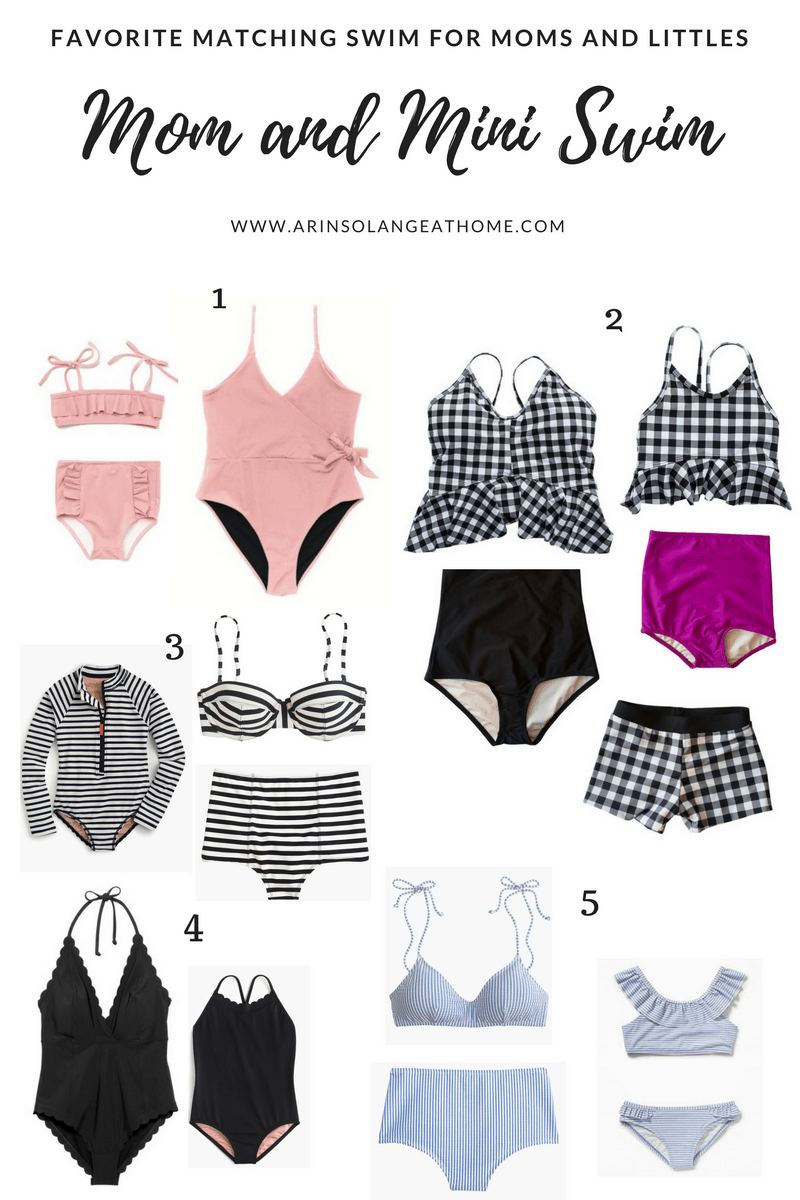 collage of swimsuits for moms and littles