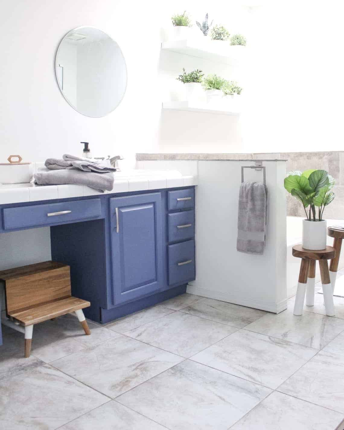 Blue cabinets in bathroom