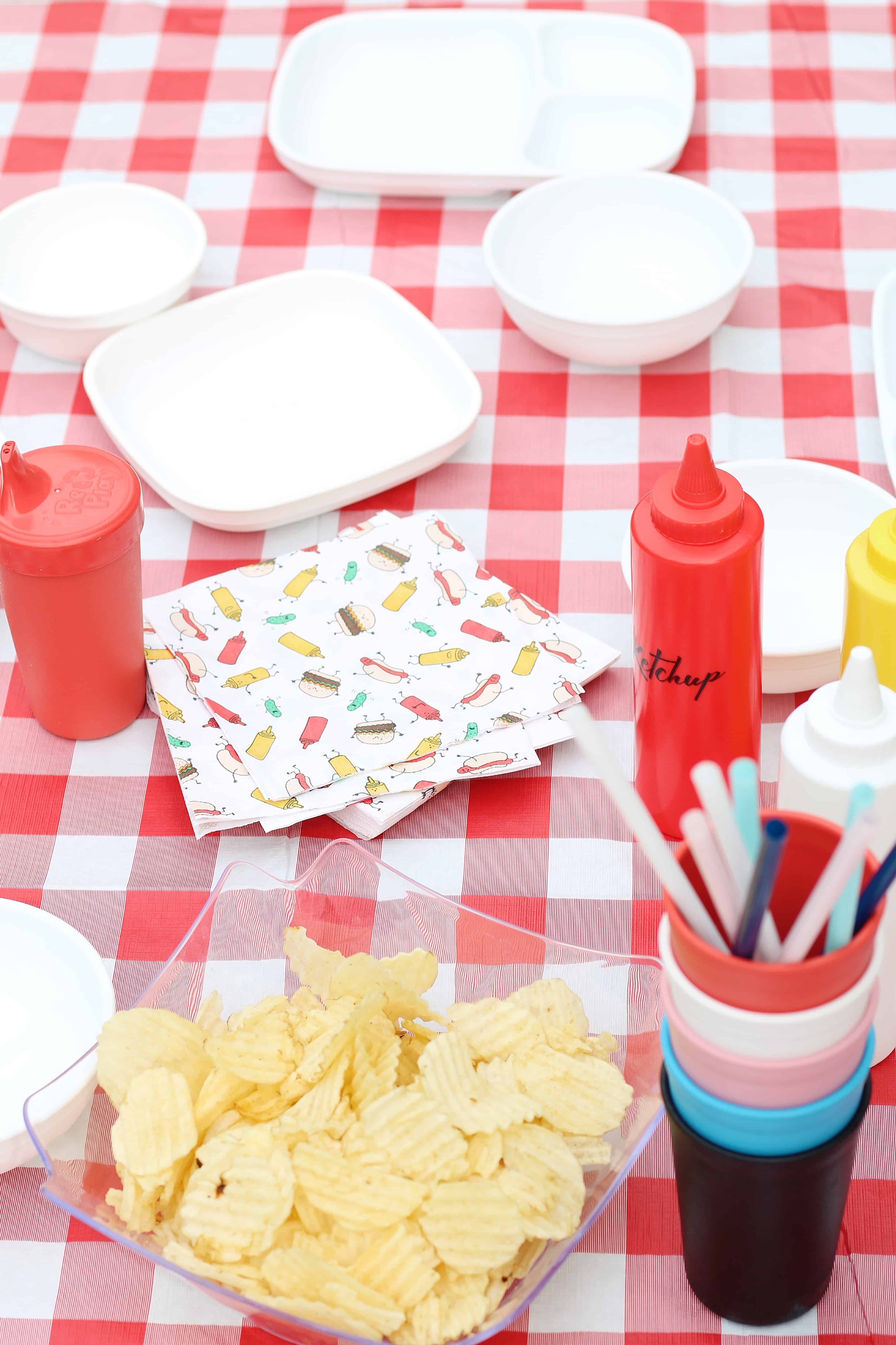 table scape with red and white table cloth