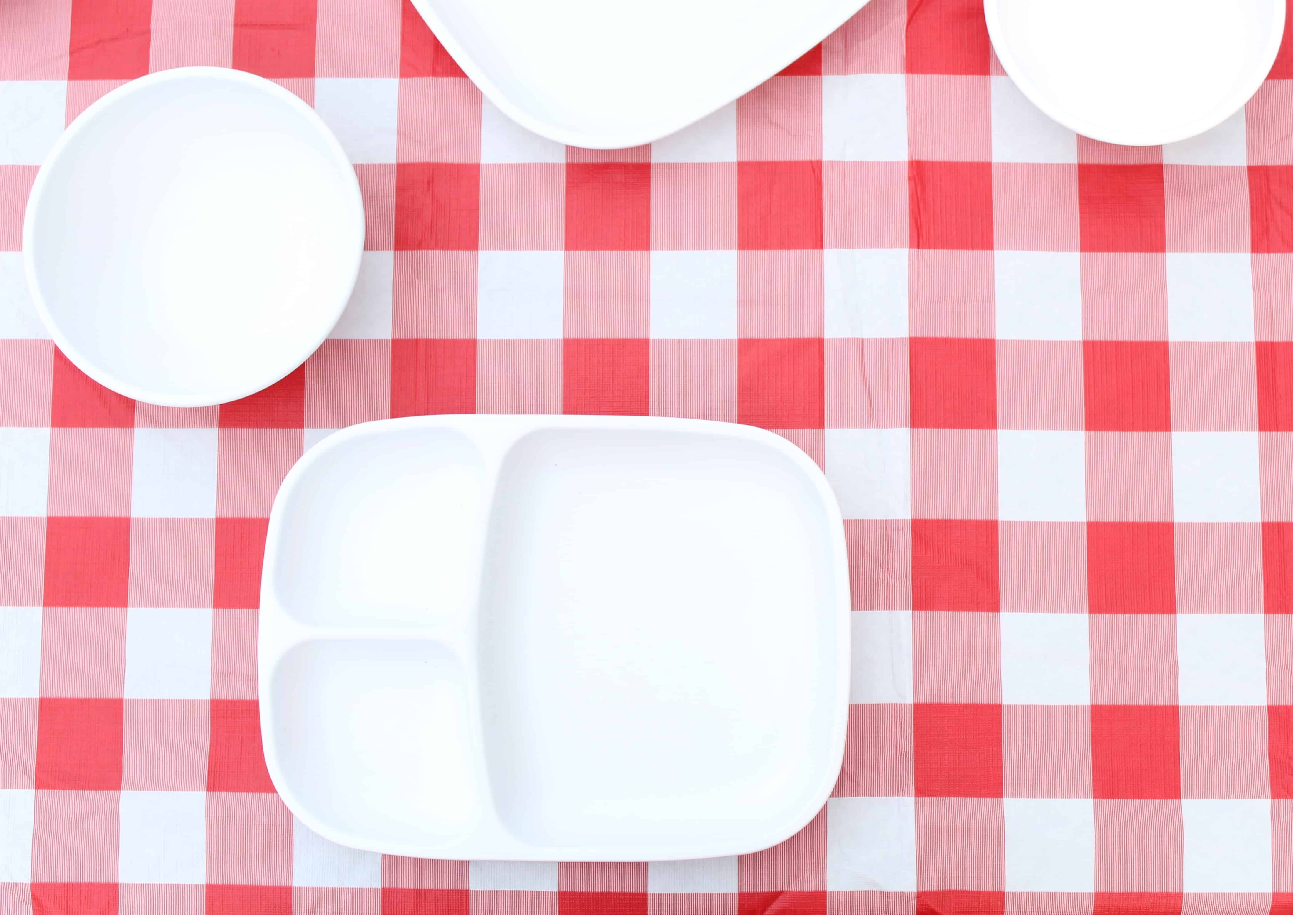white divided replay recycled plates on red and white table cloth