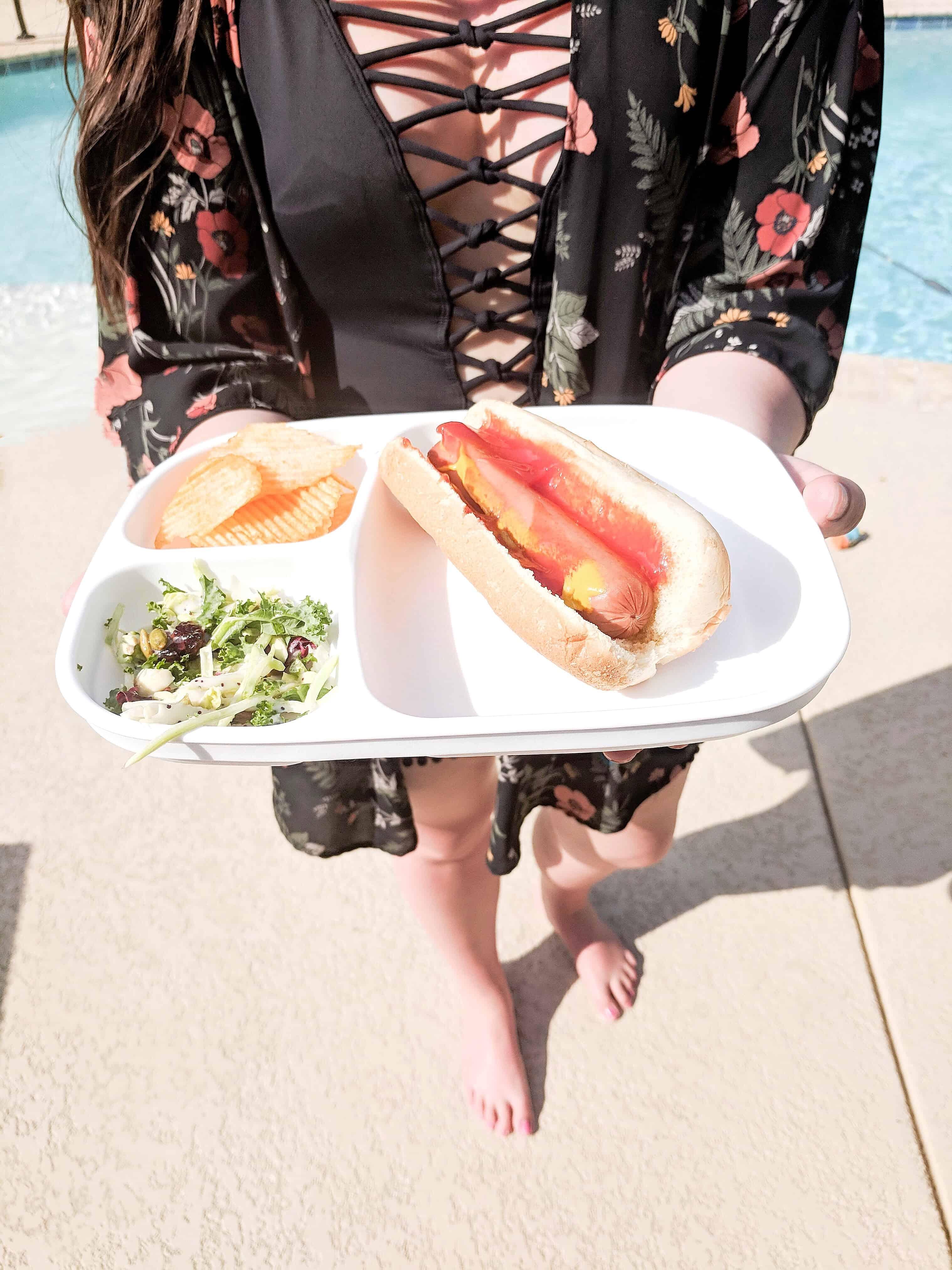 plate of food pool side