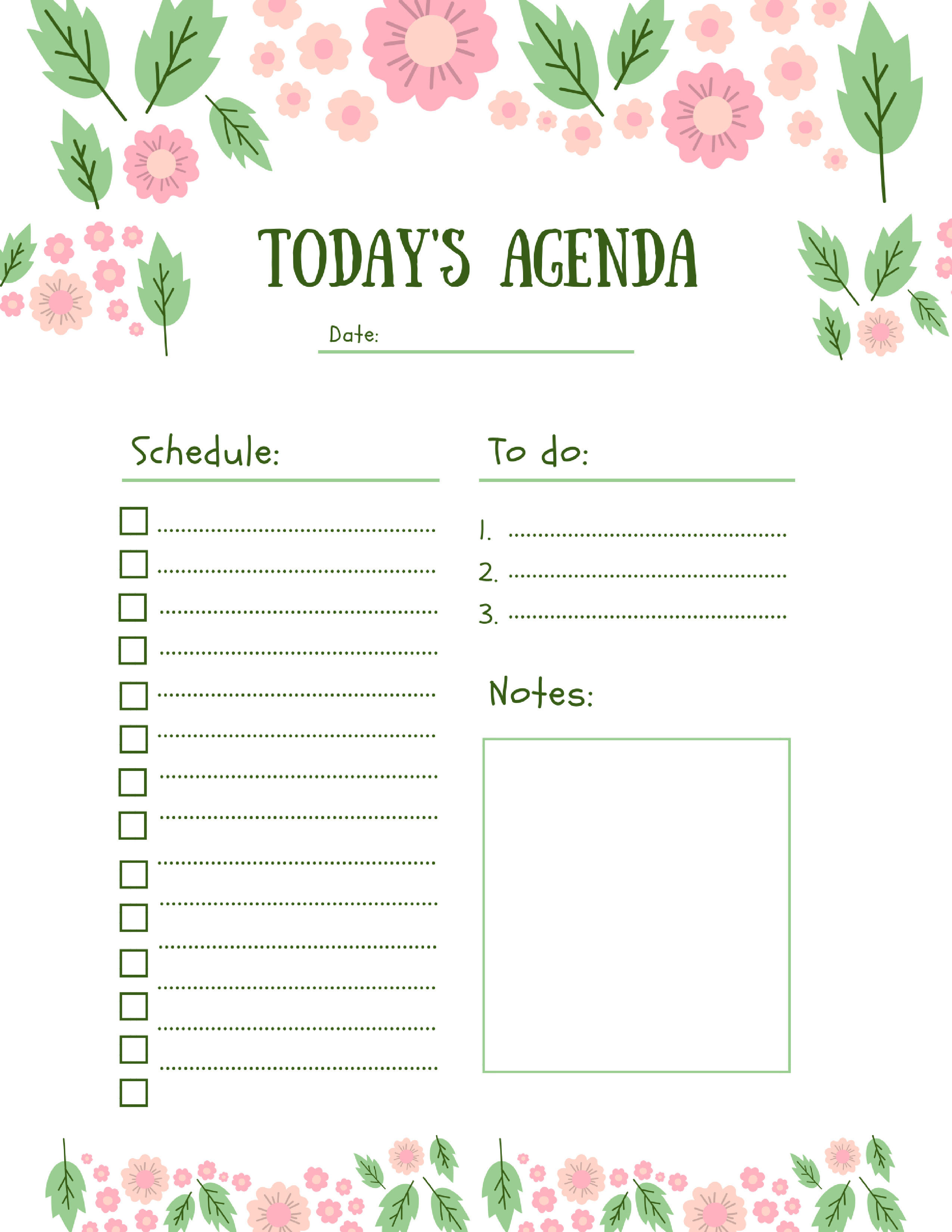 todays agenda free printable | Creating a Summer Schedule