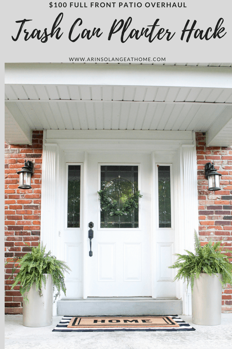 front porch with gold planters | Trash Can Planter Hack