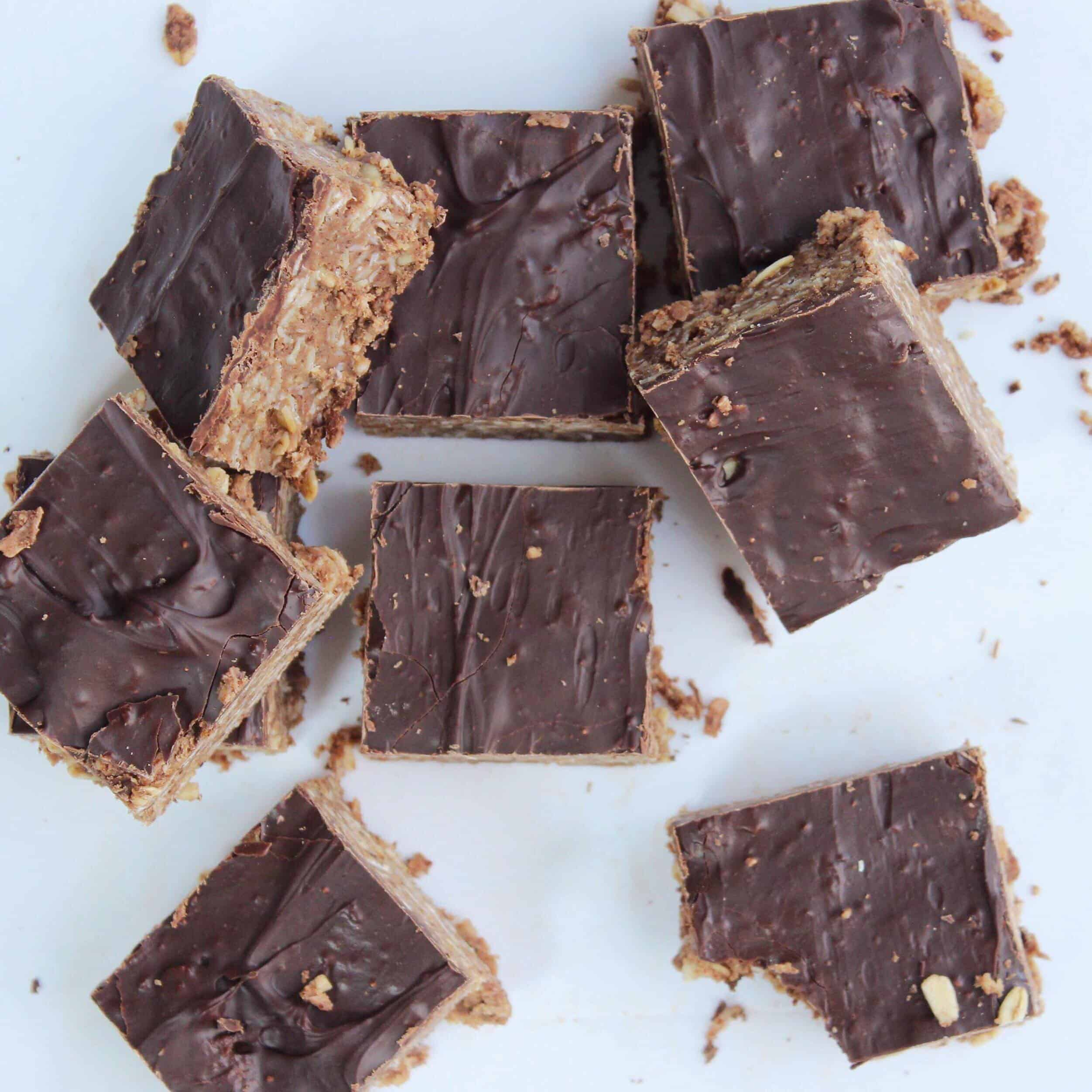 chocolate coconut bars on white background