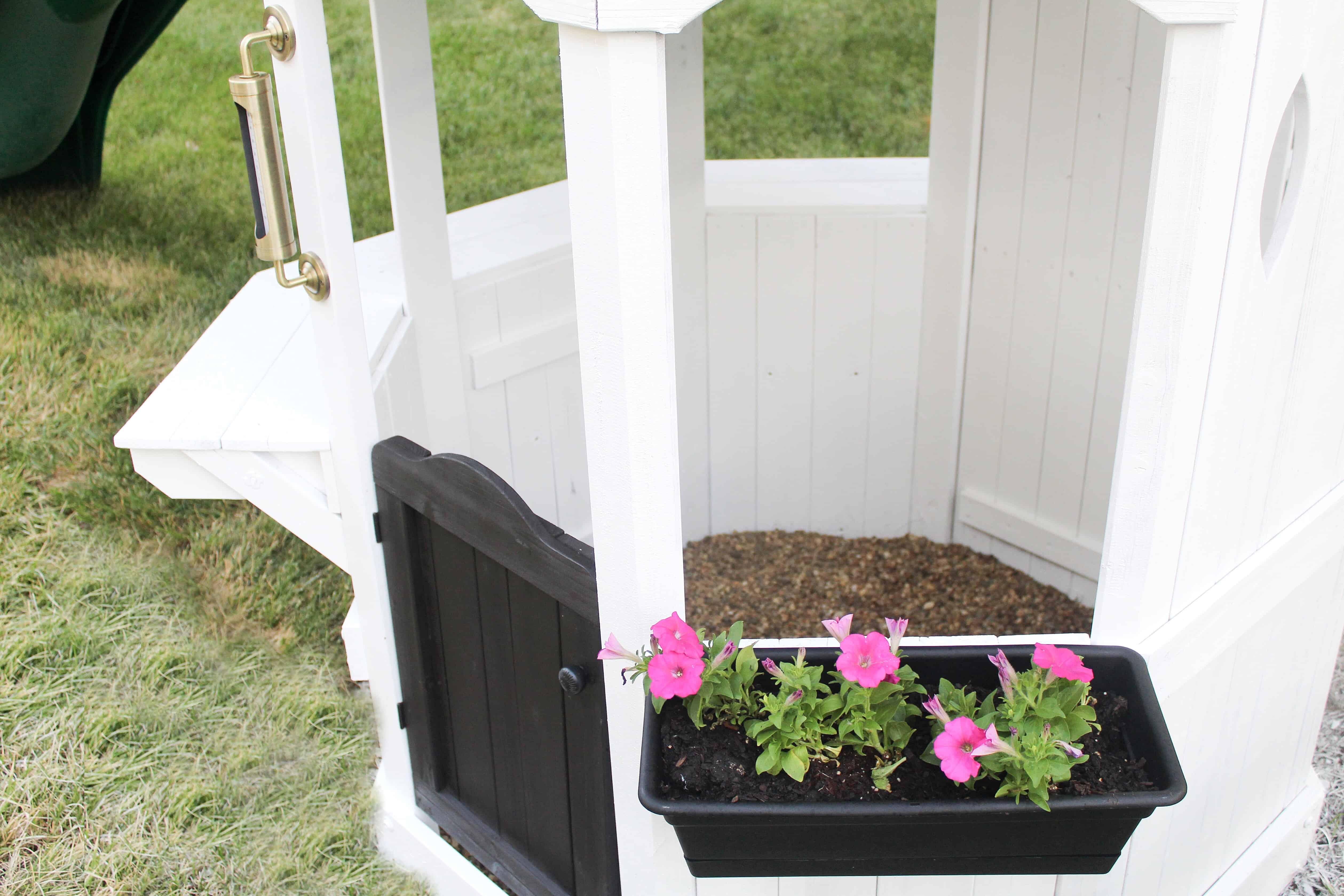 swingset planters | DIY Swingset Makeover