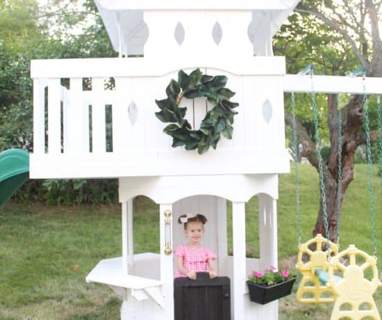 White painted swingset