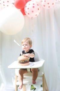 Burger themed cake smash