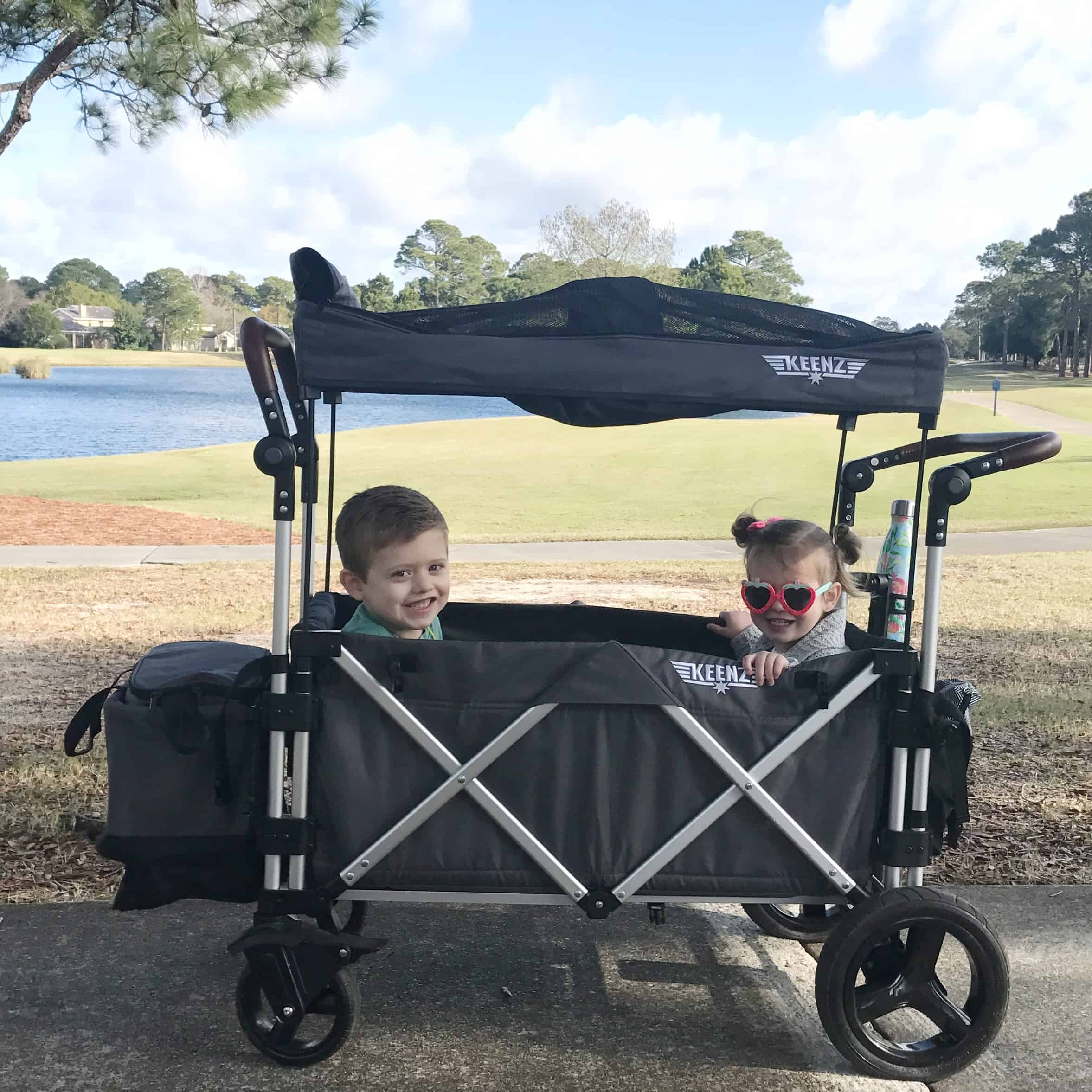 kids in Keenz stroller wagon | Baby and Toddler Beach Must Haves