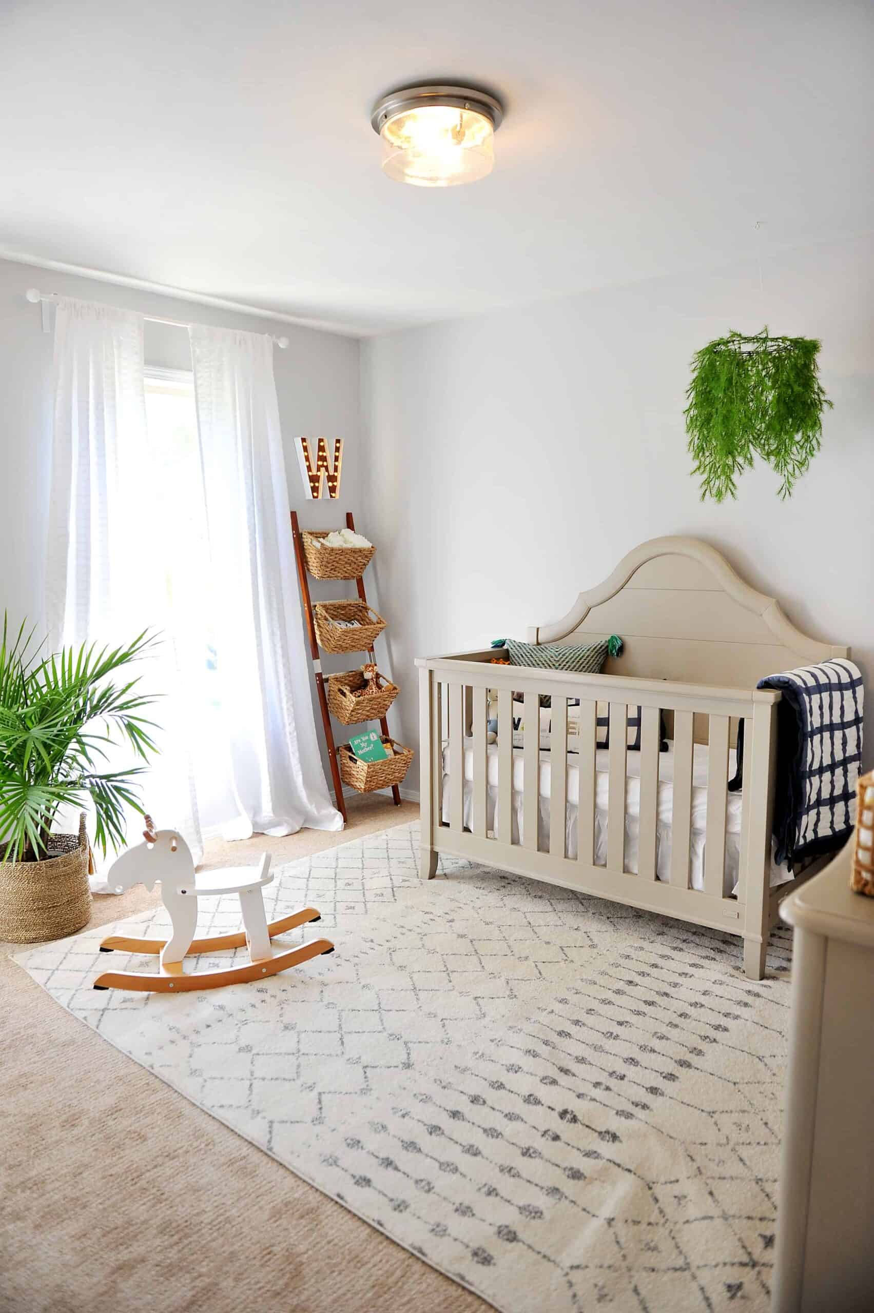 Neutral nursery with pops of greenery