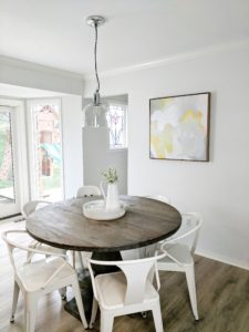 kitchen table with white metal chairs