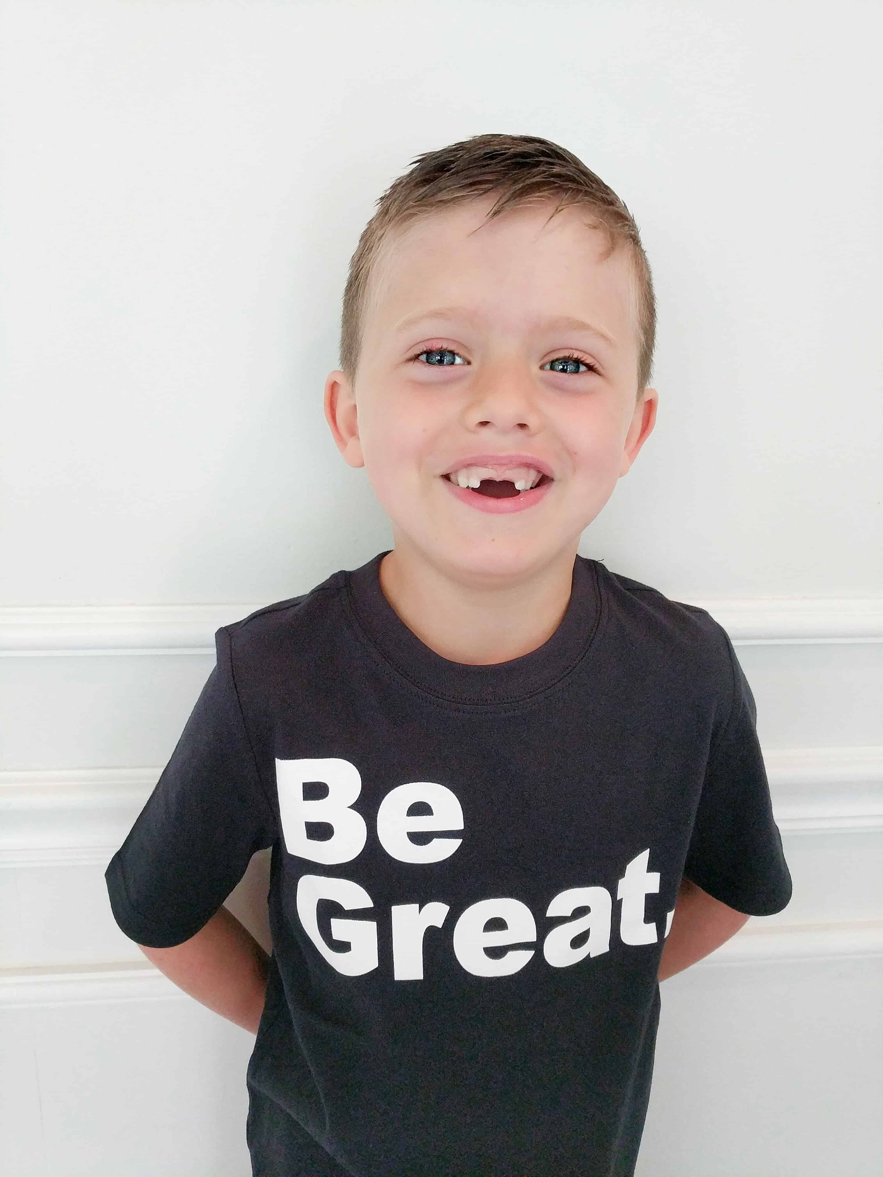 boy in black be great Carters shirt