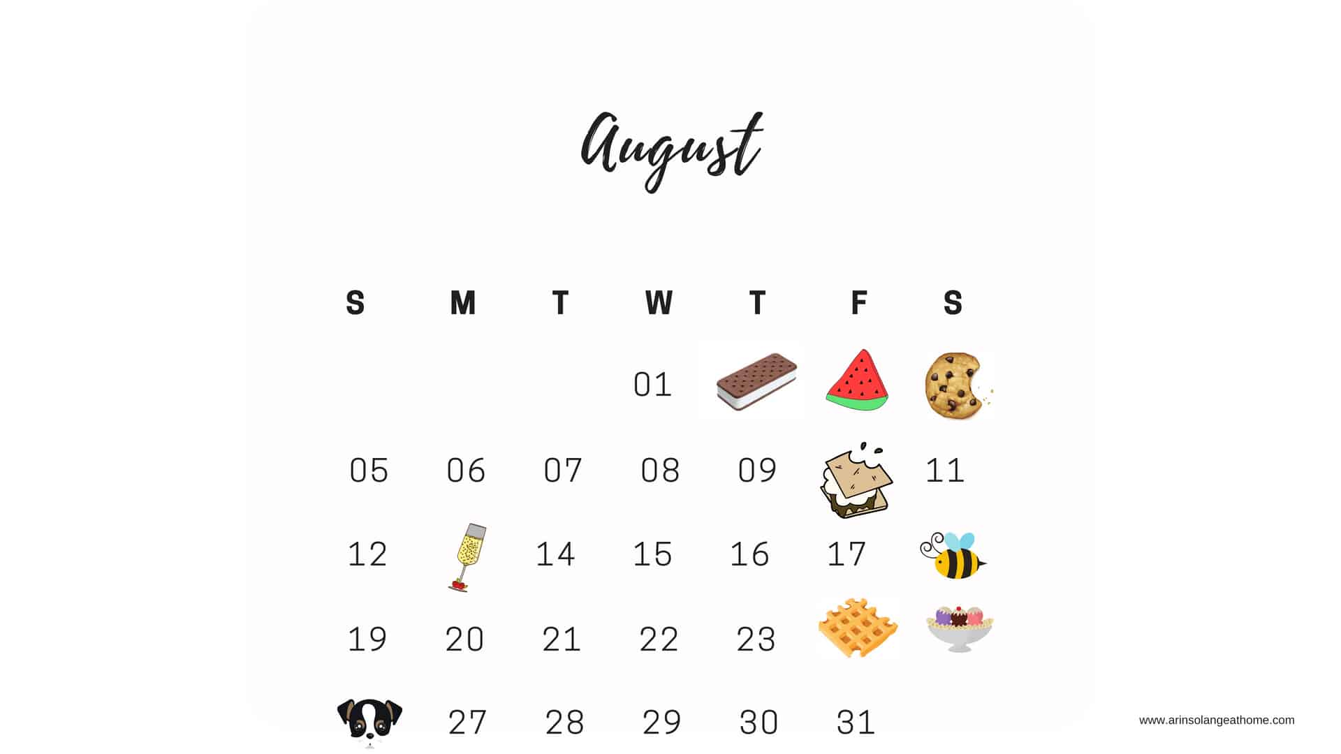 August National Days Calendar