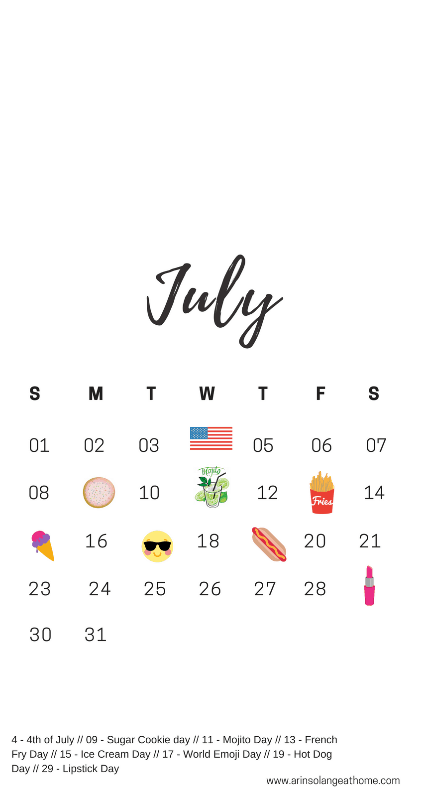 July national holiday calendar