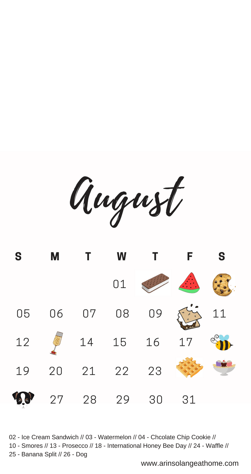 August National Holiday Calendar