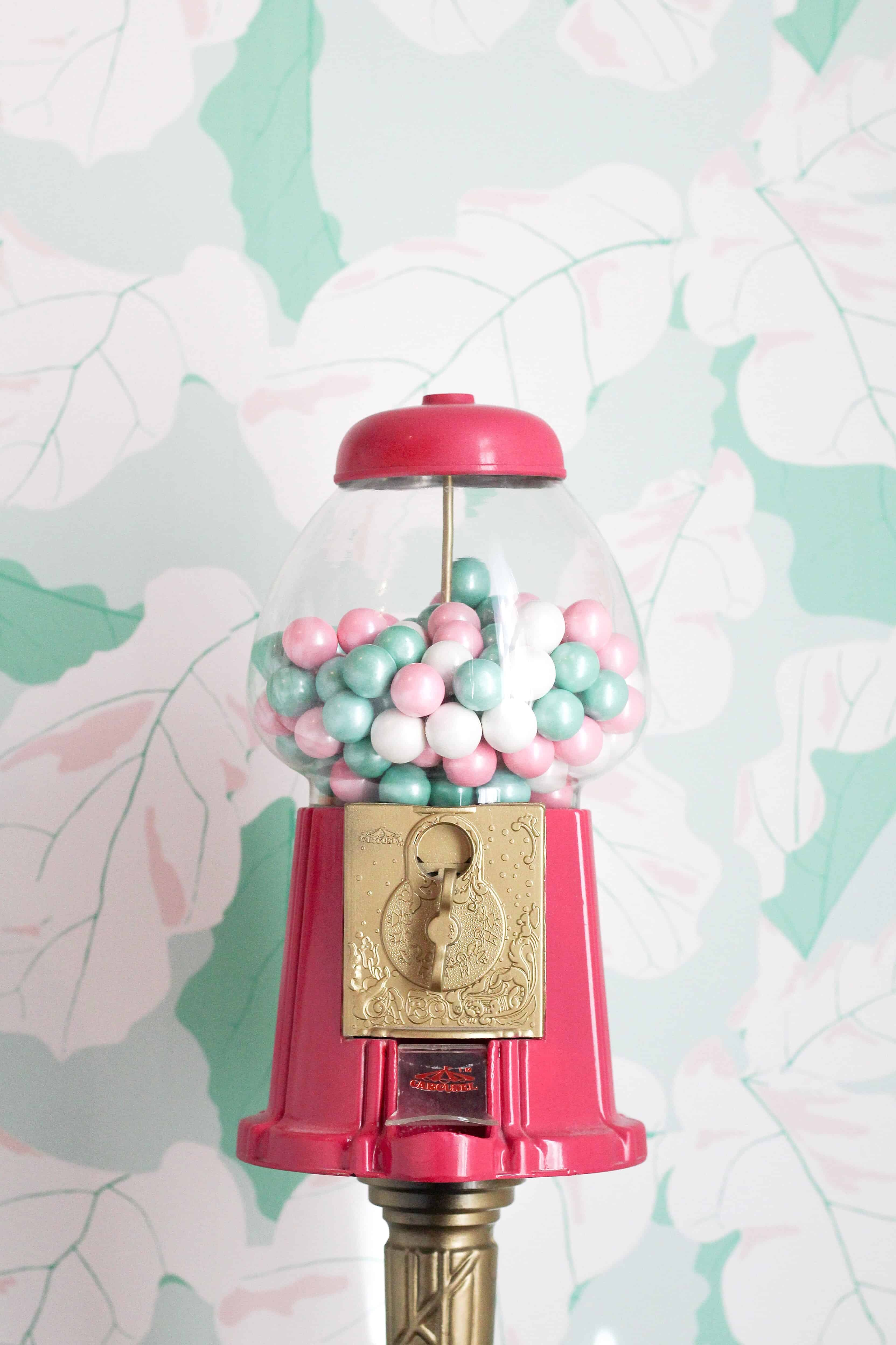 pink and gold gumball machine
