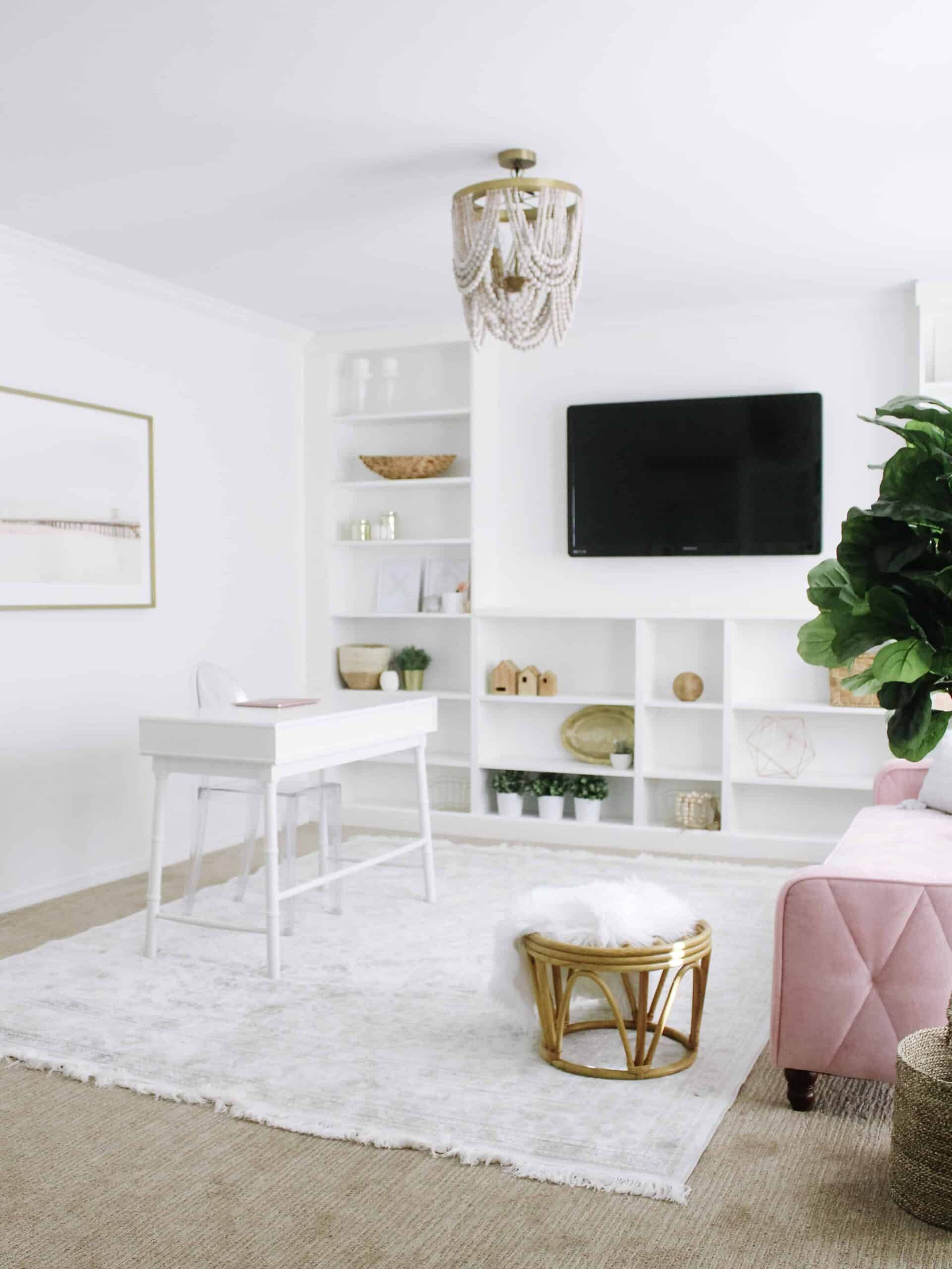 Home office with IKEA Billy Bookcase Built ins
